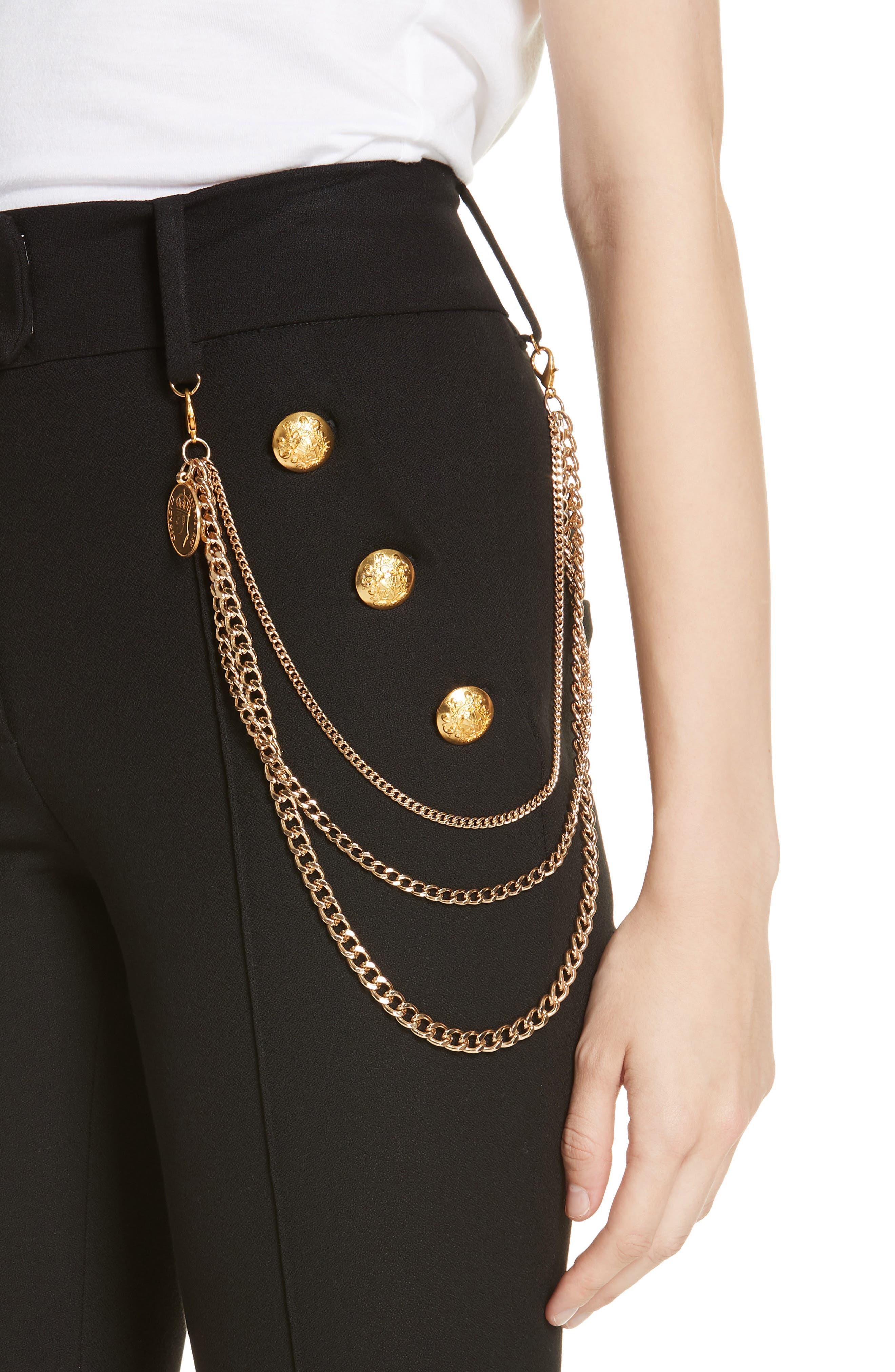 Alair Chain Detail Sailor Trousers,                             Alternate thumbnail 4, color,                             BLACK