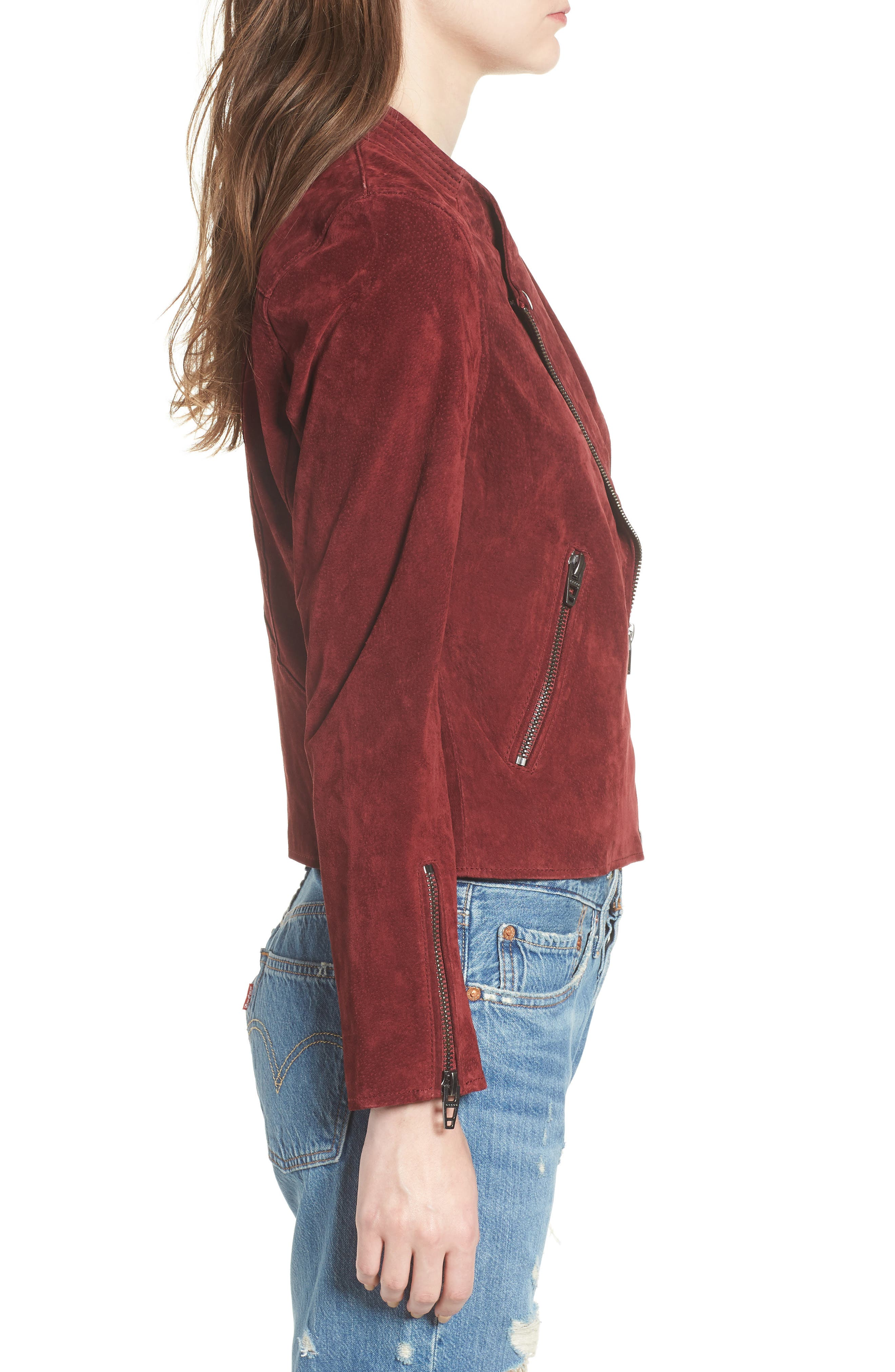 BLANKNYC,                             No Limit Suede Moto Jacket,                             Alternate thumbnail 3, color,                             RUBY