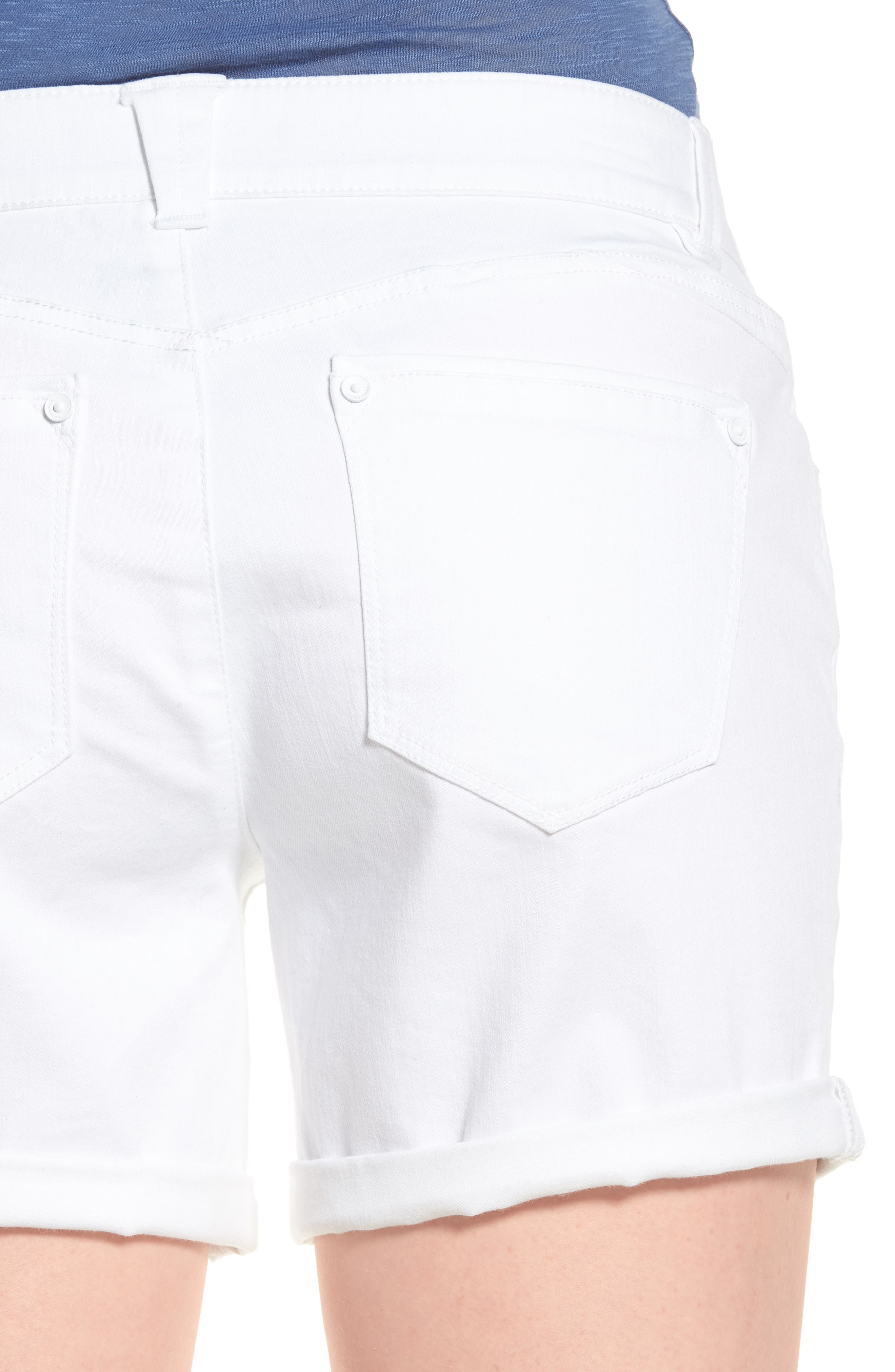 Ab-solution Cuffed White Shorts,                             Alternate thumbnail 4, color,                             106