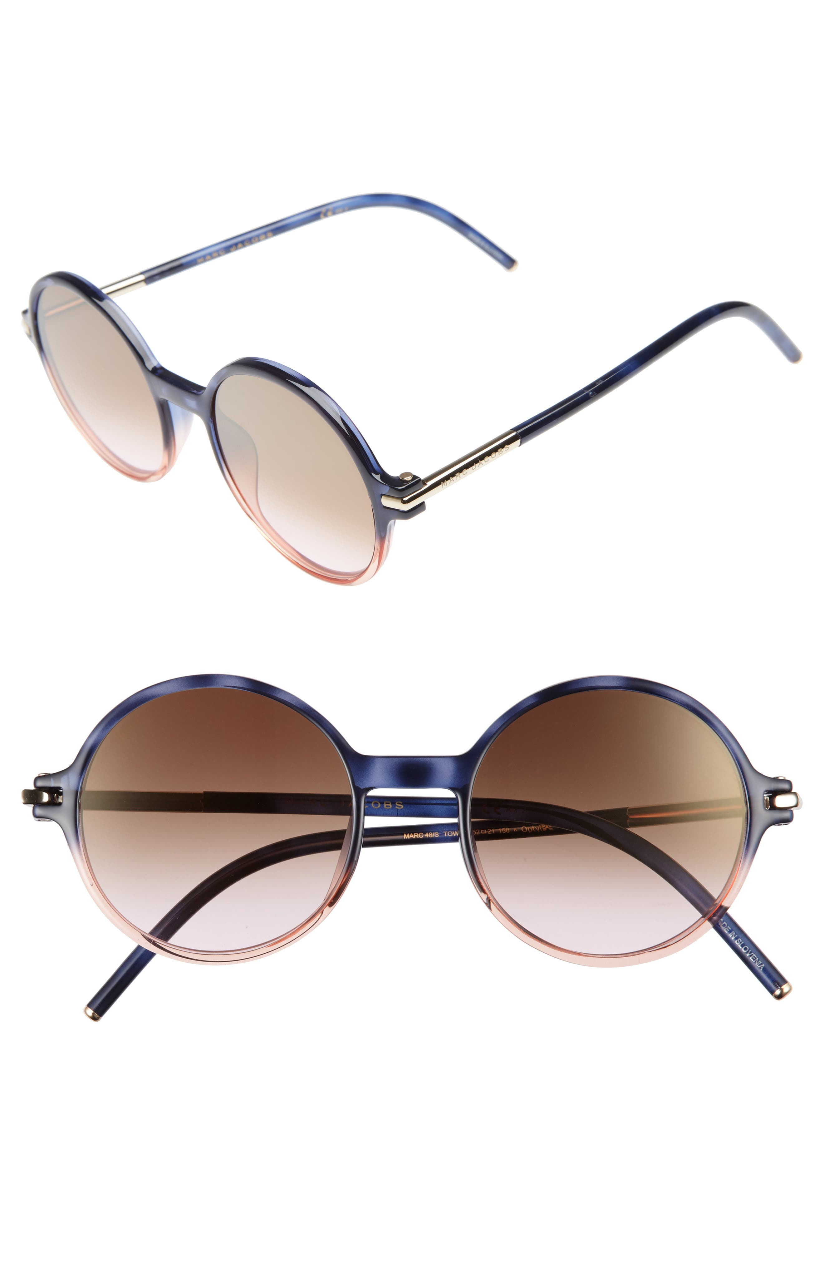 52mm Round Sunglasses,                             Main thumbnail 2, color,