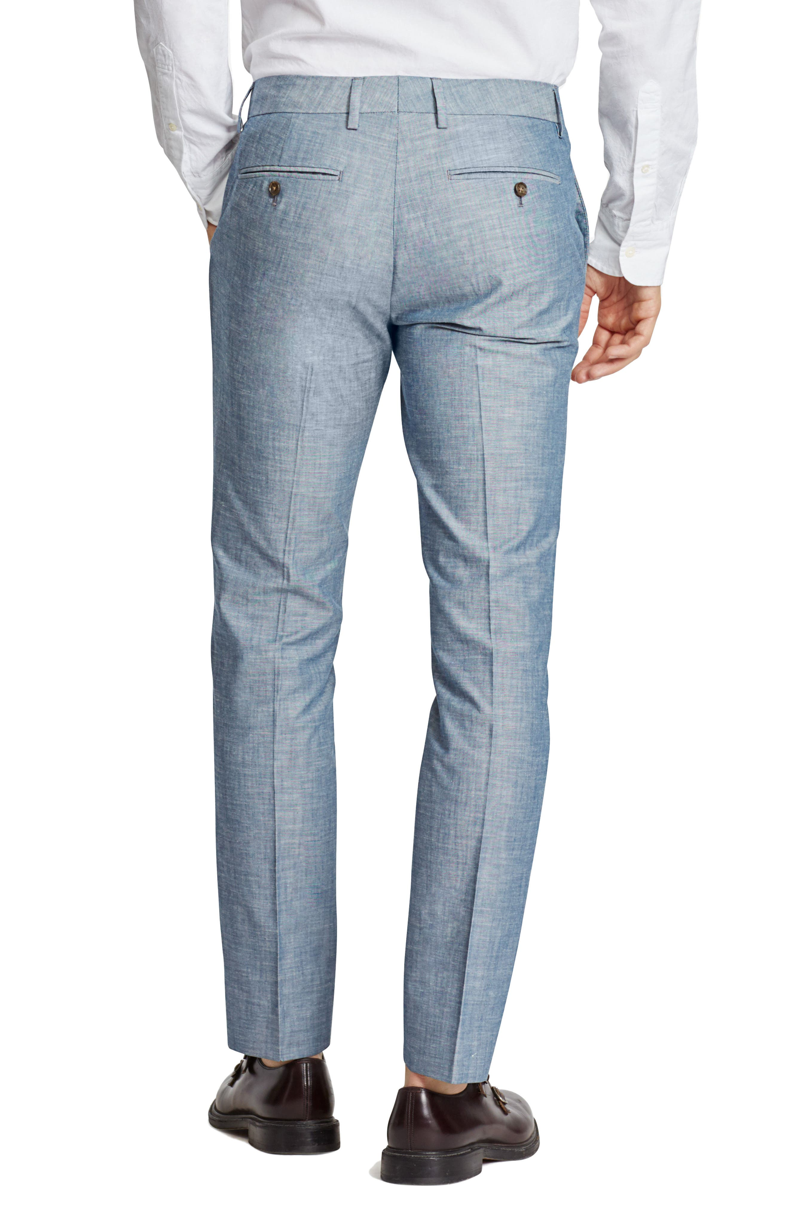 Flat Front Solid Cotton Trousers,                             Alternate thumbnail 2, color,                             SOLID BLUE