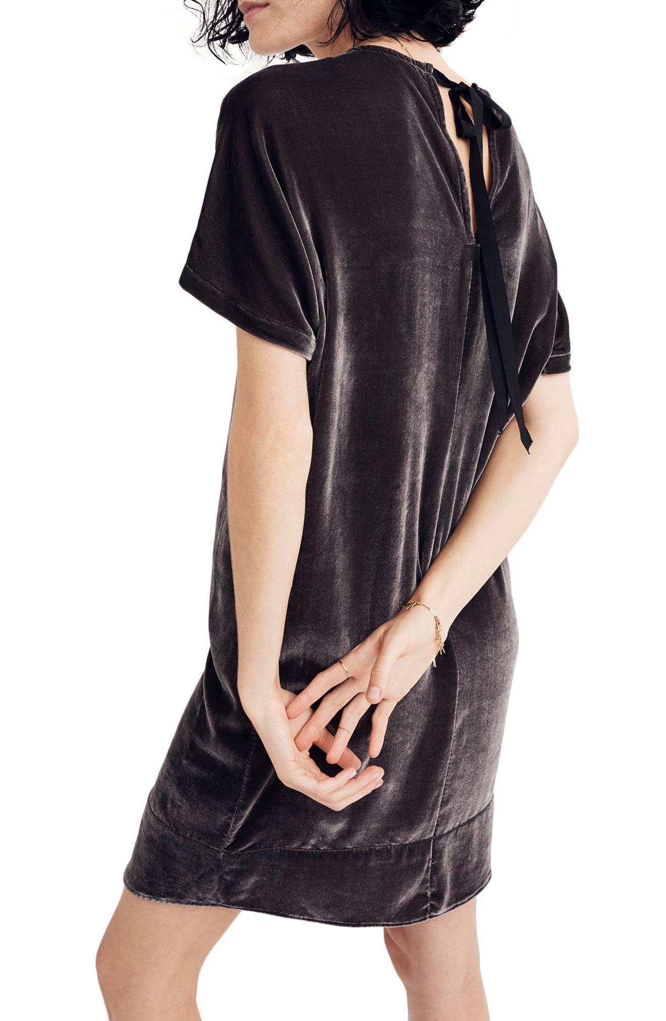 Velvet Bow Back Shift Dress,                             Alternate thumbnail 2, color,                             020
