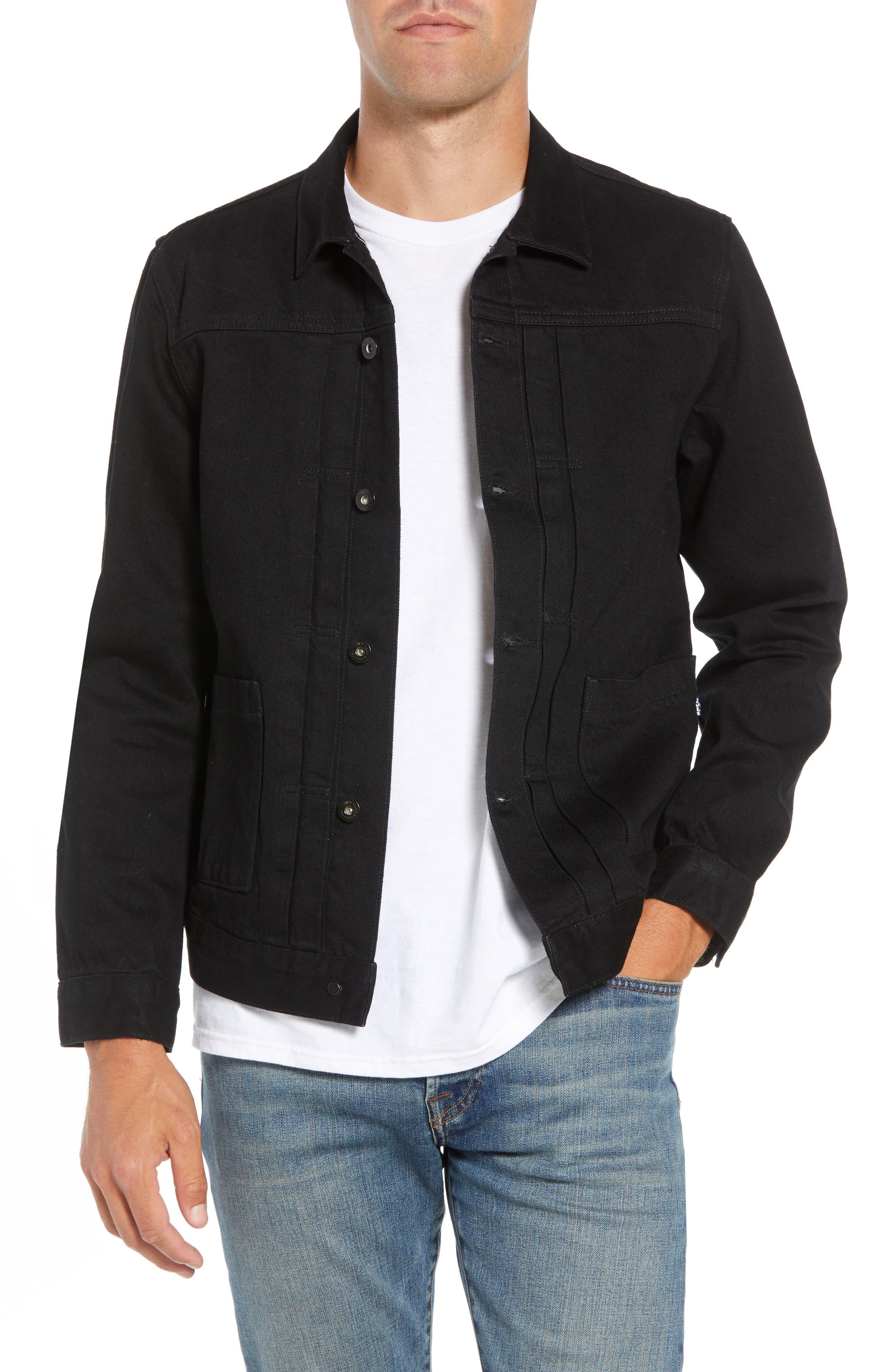 Type II<sup>™</sup> Worn Trucker Regular Fit Denim Jacket,                             Main thumbnail 1, color,                             NERO NERO