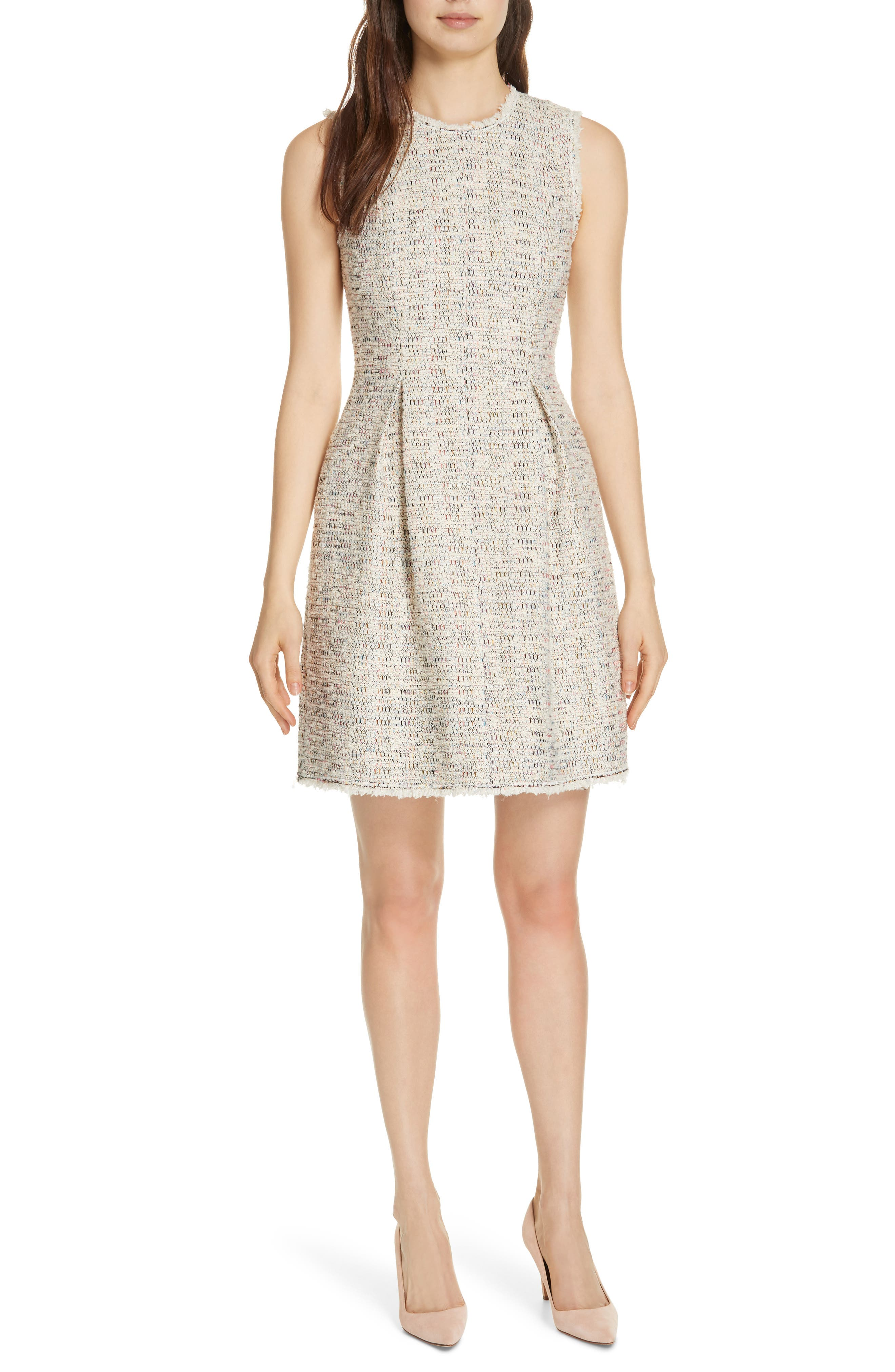 Rebecca Taylor Rainbow Tweed Fit & Flare Dress, Ivory