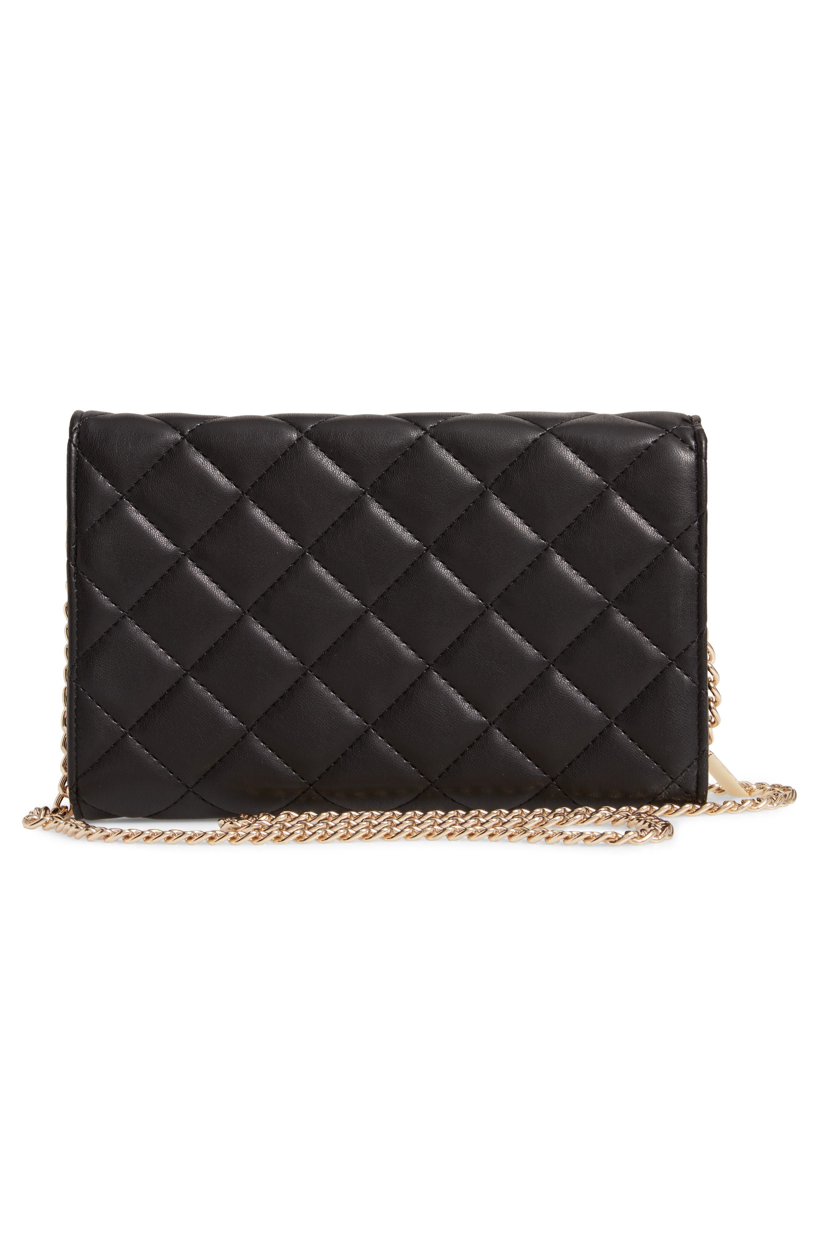 Mali + Lili Ciara Quilted Vegan Leather Convertible Clutch,                             Alternate thumbnail 3, color,                             BLACK