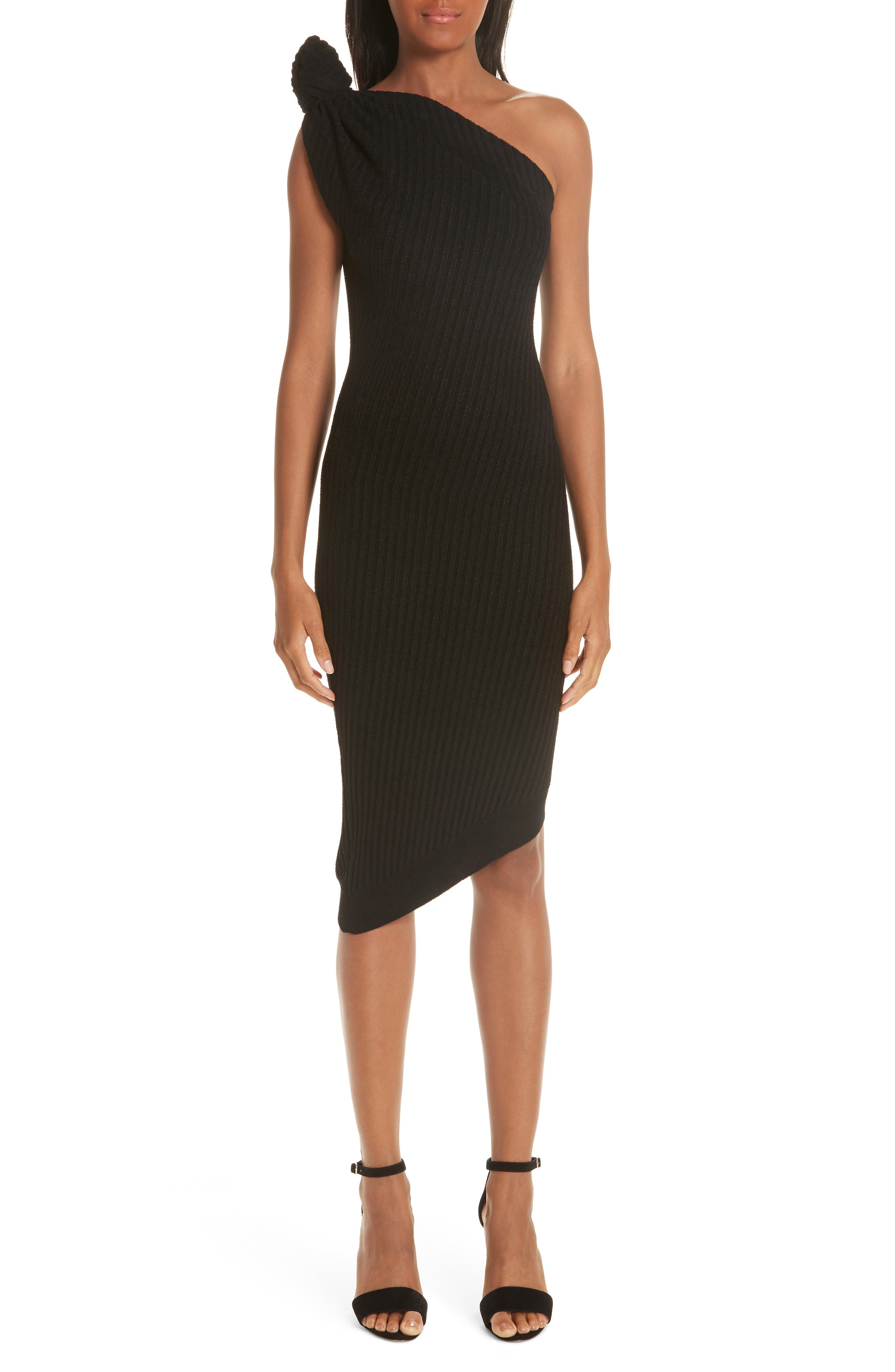 be260c5722f women s brandon maxwell rib knit knotted one-shoulder dress