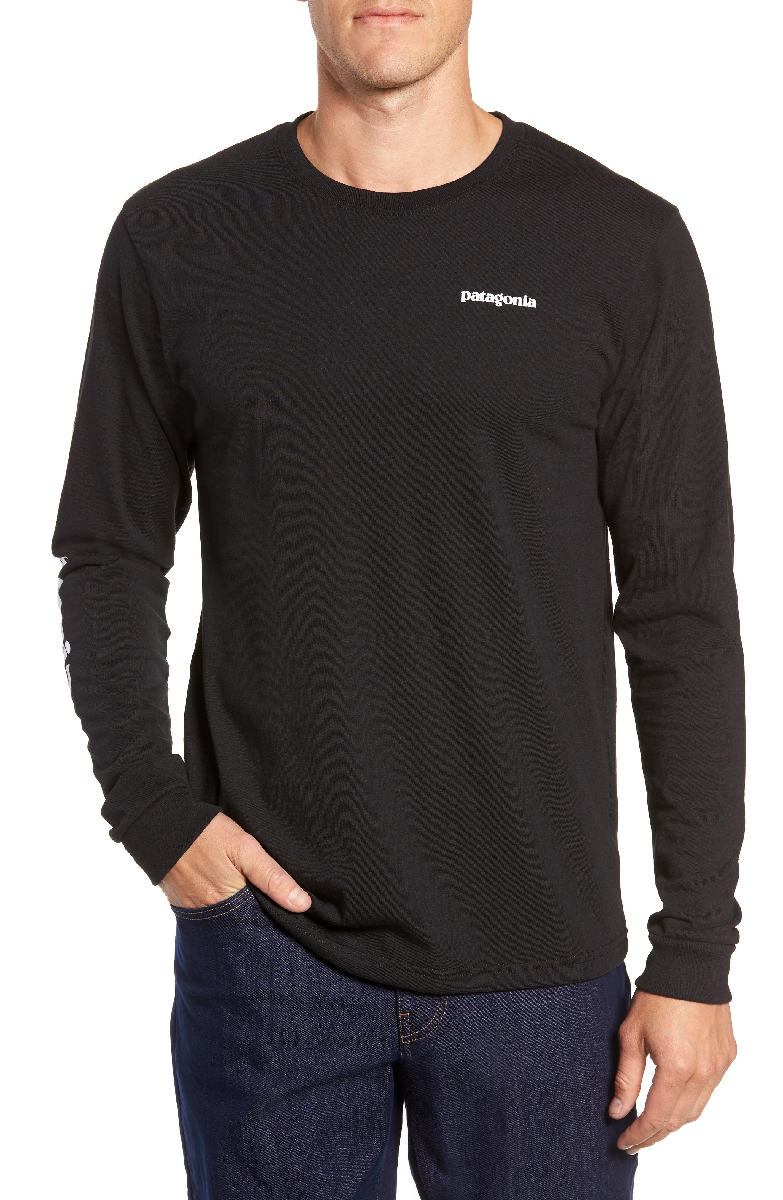 Long Sleeve Logo T-Shirt,                             Main thumbnail 1, color,                             BLACK