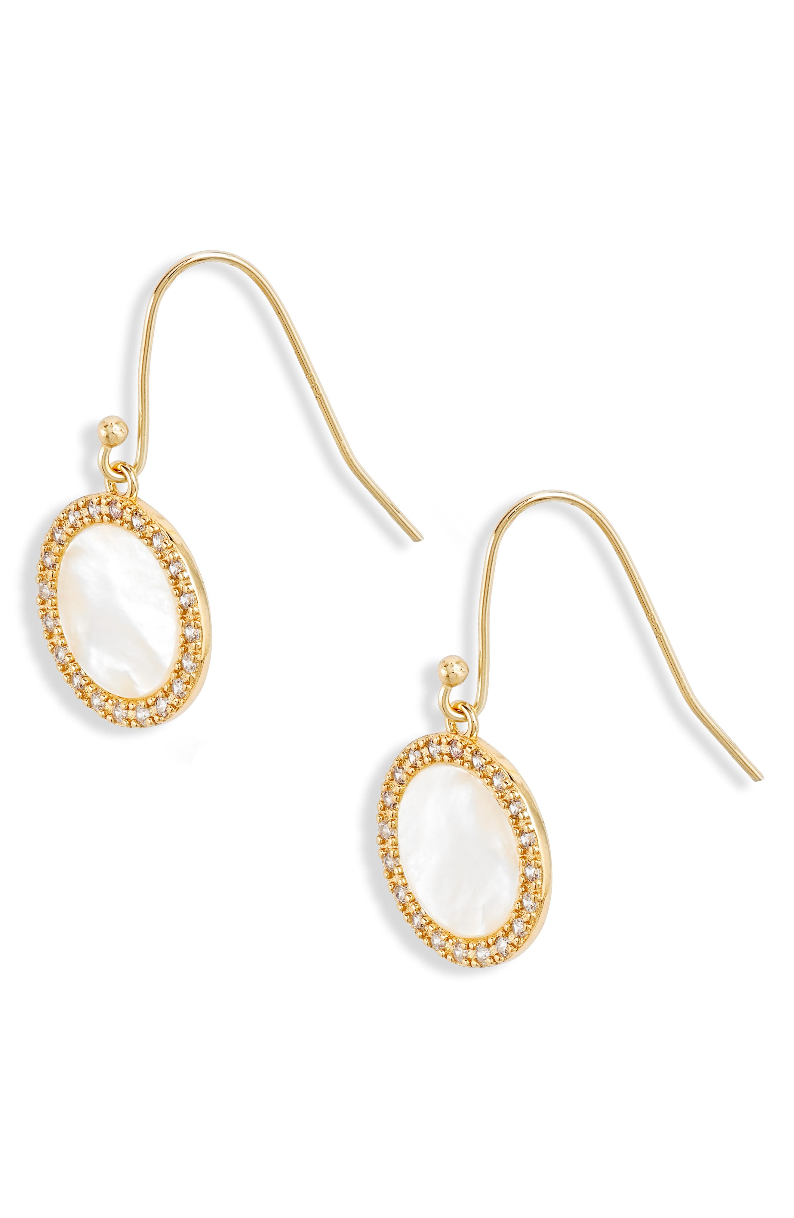 Mother of Pearl Drop Earrings, Main, color, MOTHER OF PEARL/ GOLD