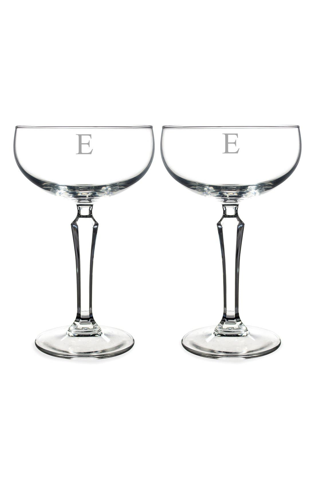 Monogram Coupe Cocktail/Champagne Glasses,                             Main thumbnail 7, color,