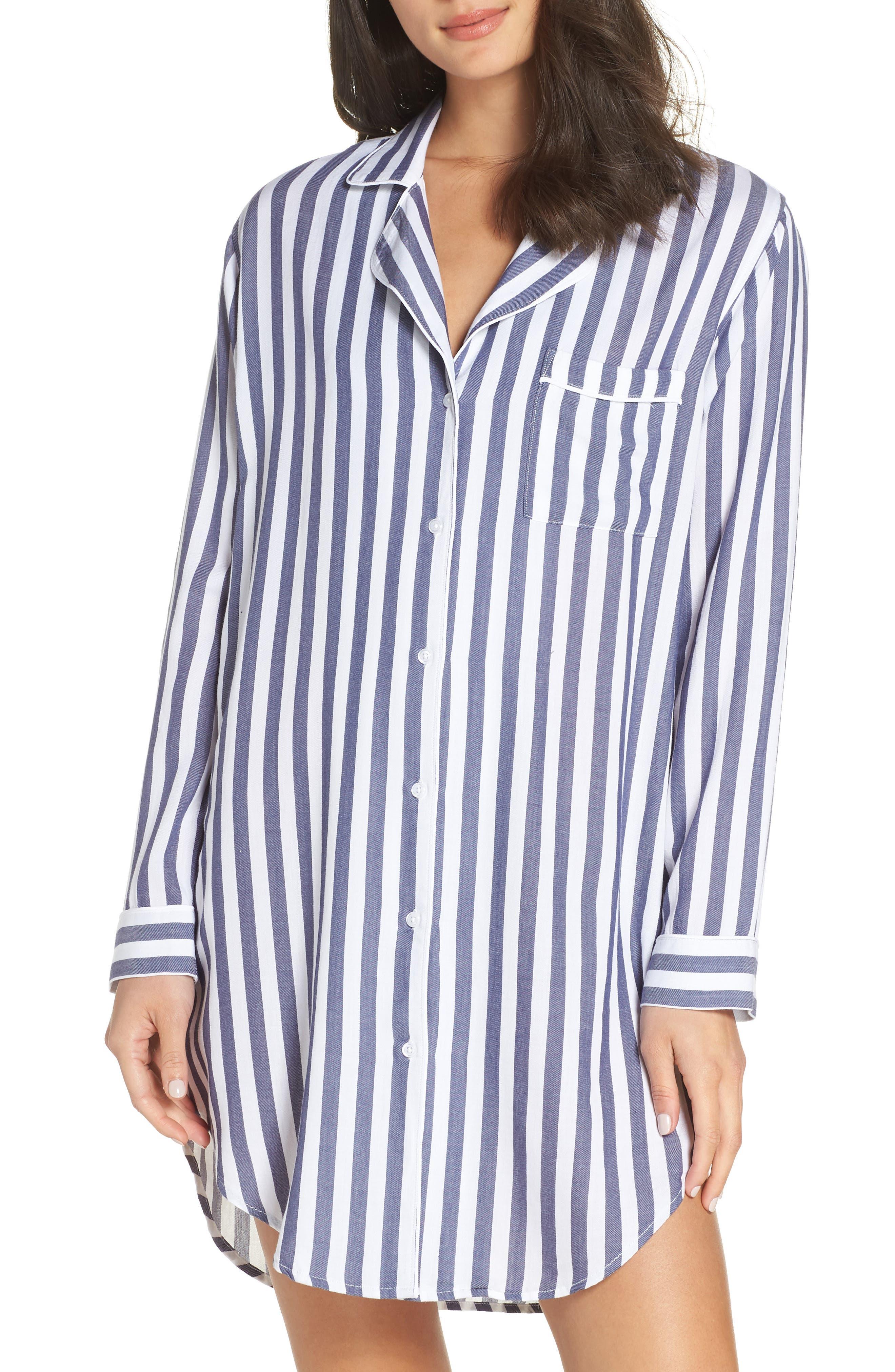 RAILS,                             Striped Sleep Shirt,                             Main thumbnail 1, color,                             434