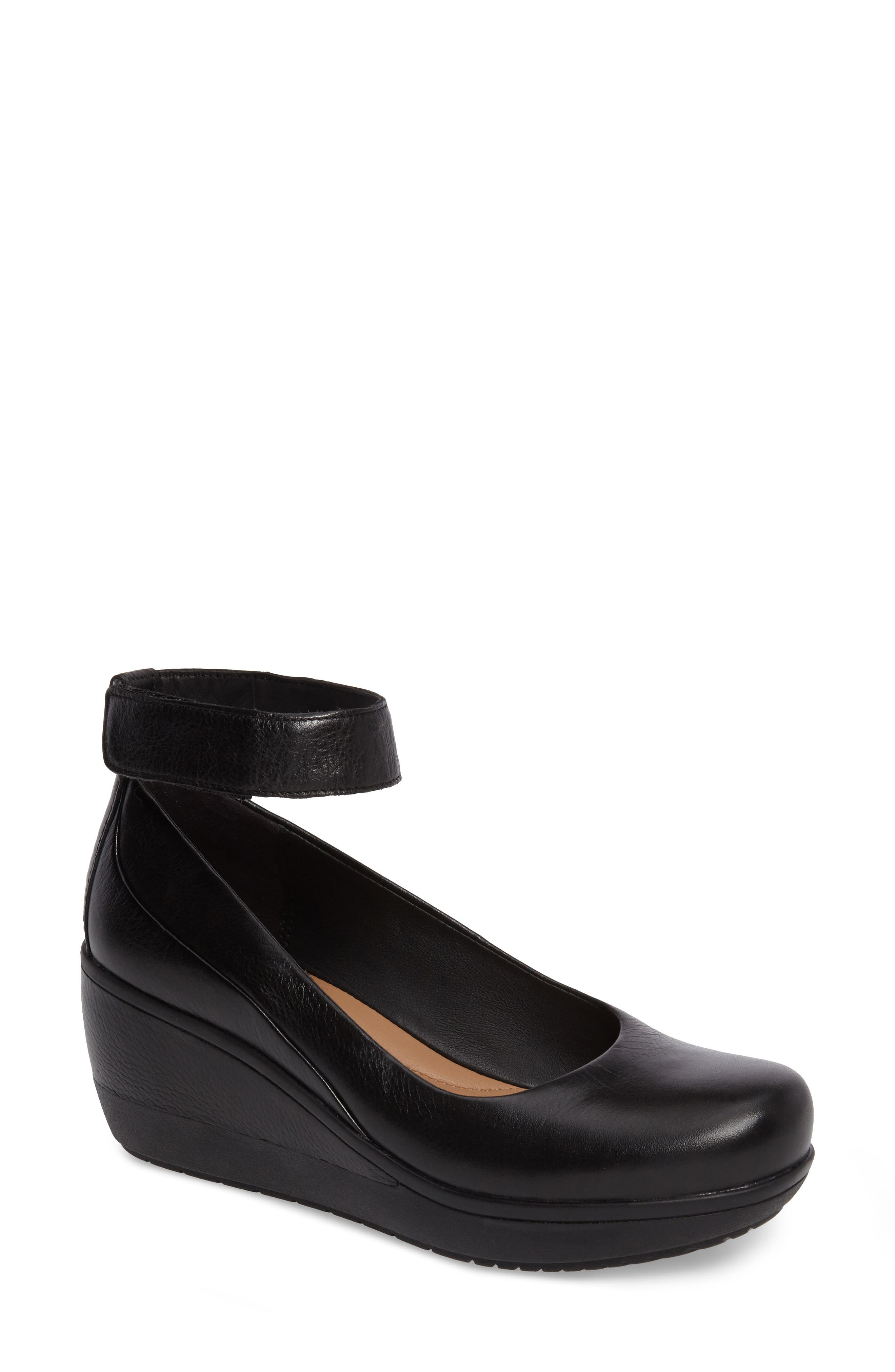 Wynnmere Fox Ankle Strap Pump,                             Main thumbnail 1, color,                             BLACK LEATHER