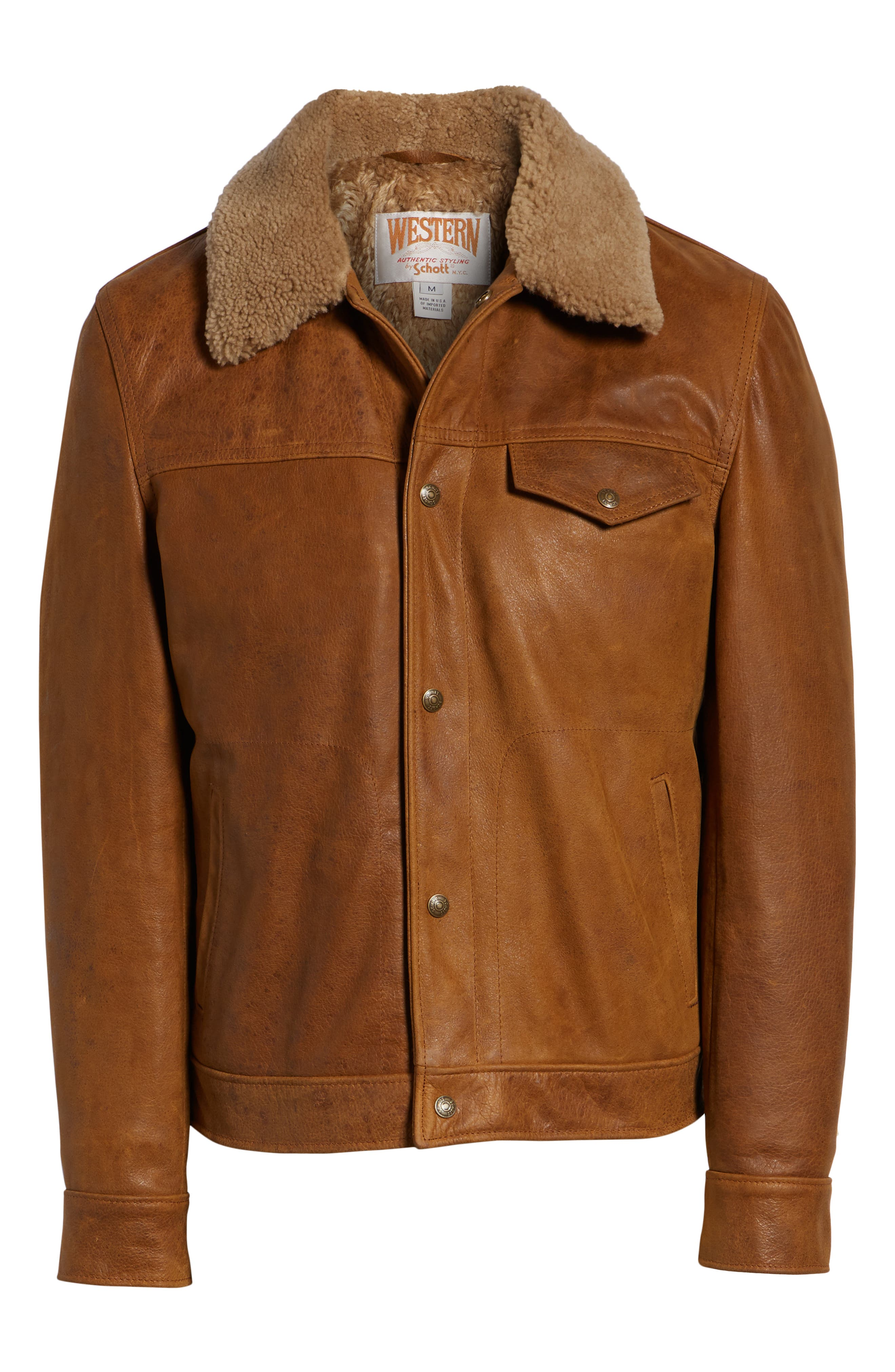 Vintage Buffalo Leather Trucker Jacket with Genuine Sheepskin Collar,                             Alternate thumbnail 6, color,                             SYCAMORE