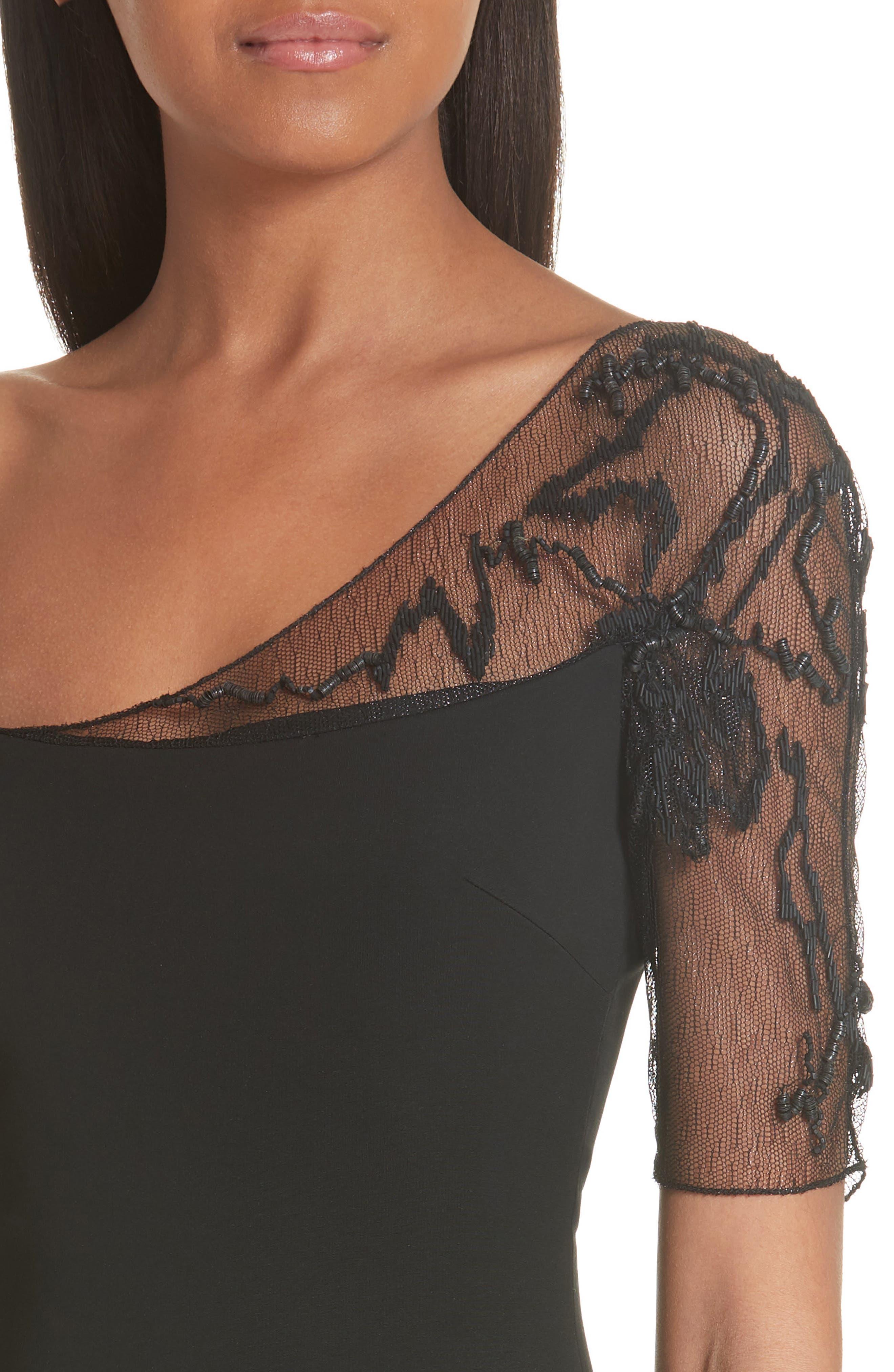 CUSHNIE,                             et Ochs Embellished Mesh One-Shoulder Sheath Dress,                             Alternate thumbnail 4, color,                             001