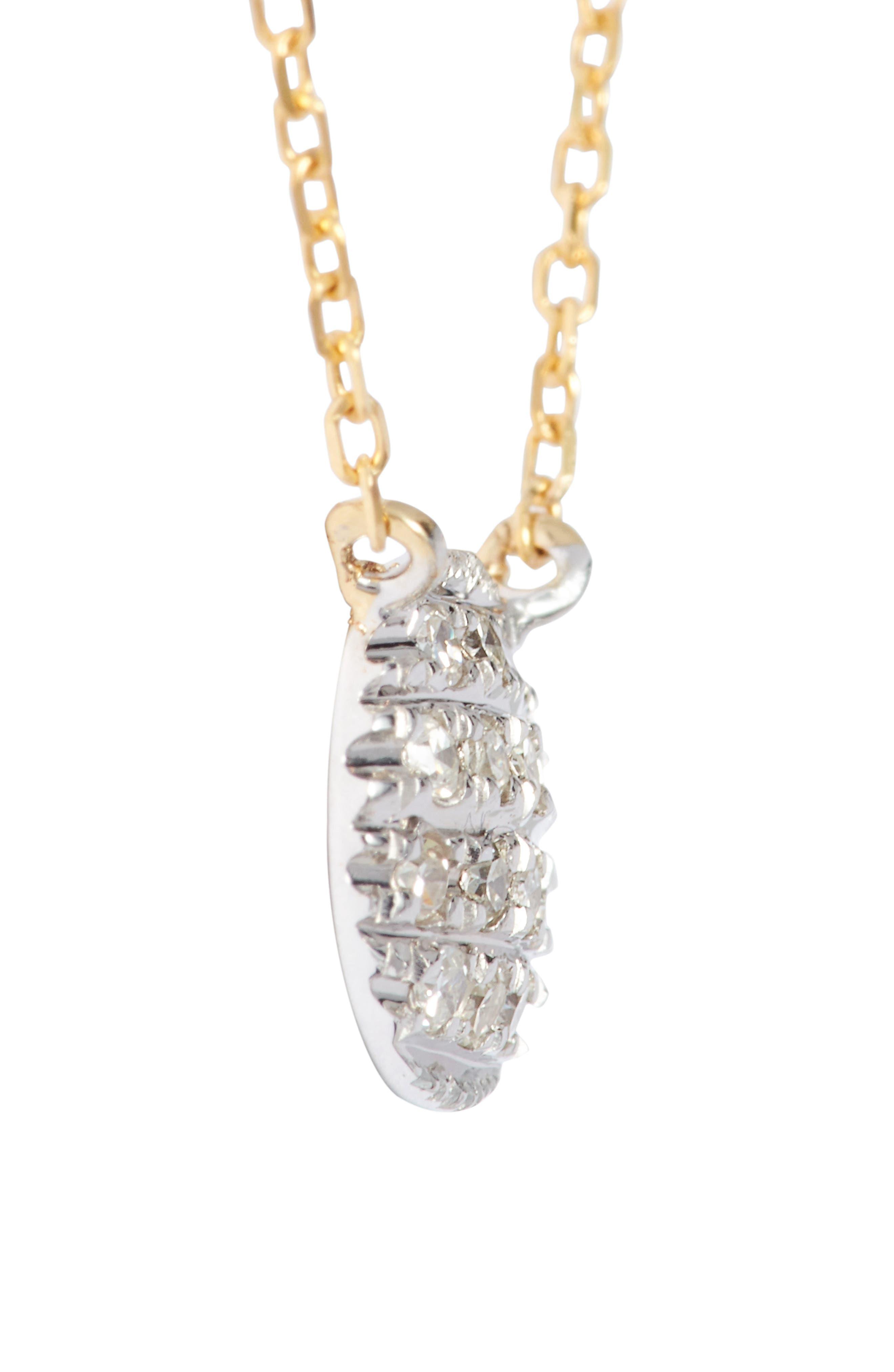 'Lauren Joy' Diamond Disc Pendant Necklace,                             Alternate thumbnail 4, color,                             YELLOW GOLD