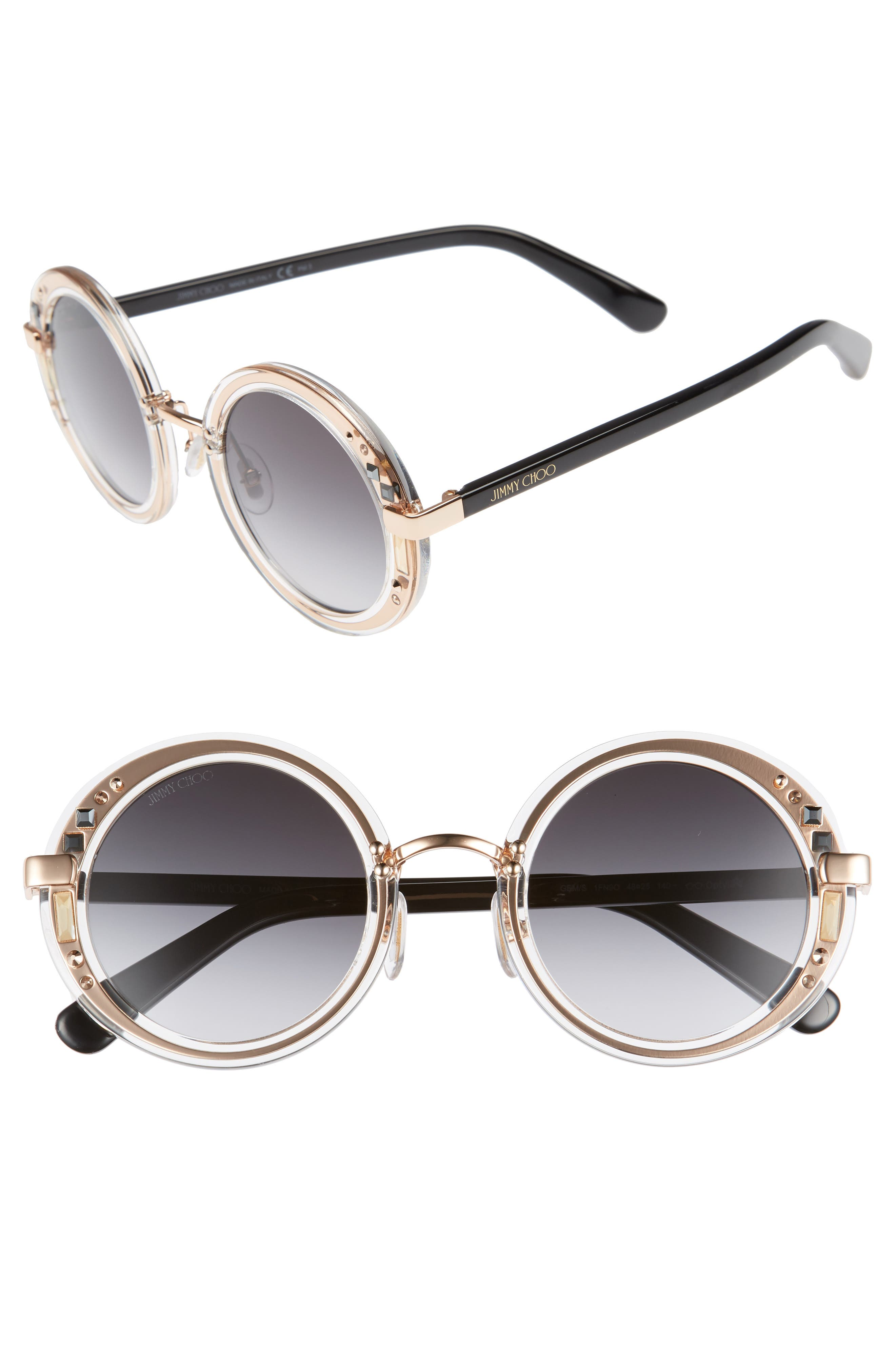 Gems 48mm Round Sunglasses,                         Main,                         color, 100