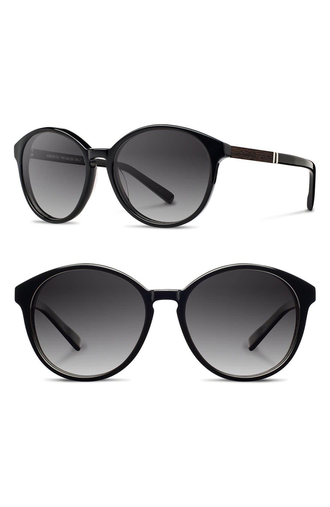 SHWOOD 'Bailey' 53Mm Polarized Sunglasses - Black/ Ebony/ Grey Fade Polar