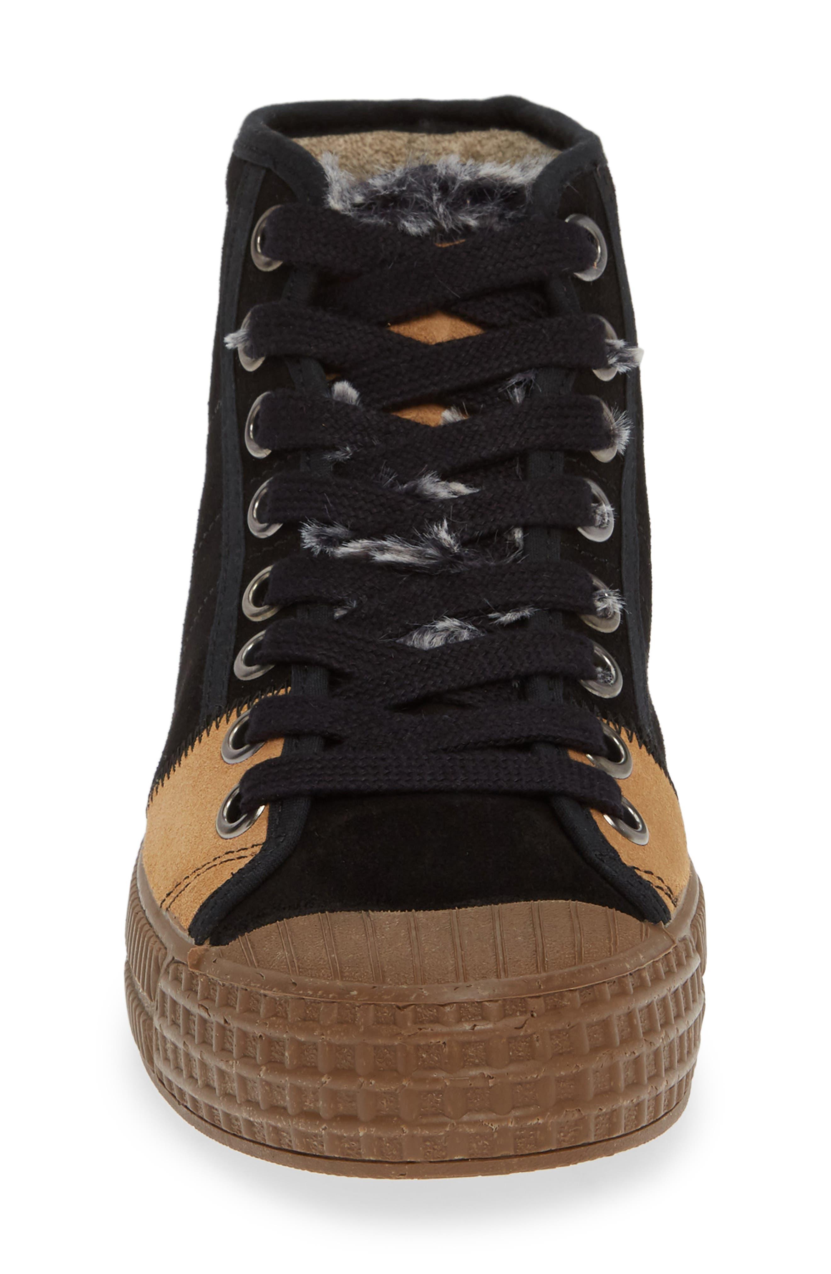 Femp High Top Sneaker,                             Alternate thumbnail 4, color,                             BLACK/ CAMEL SUEDE