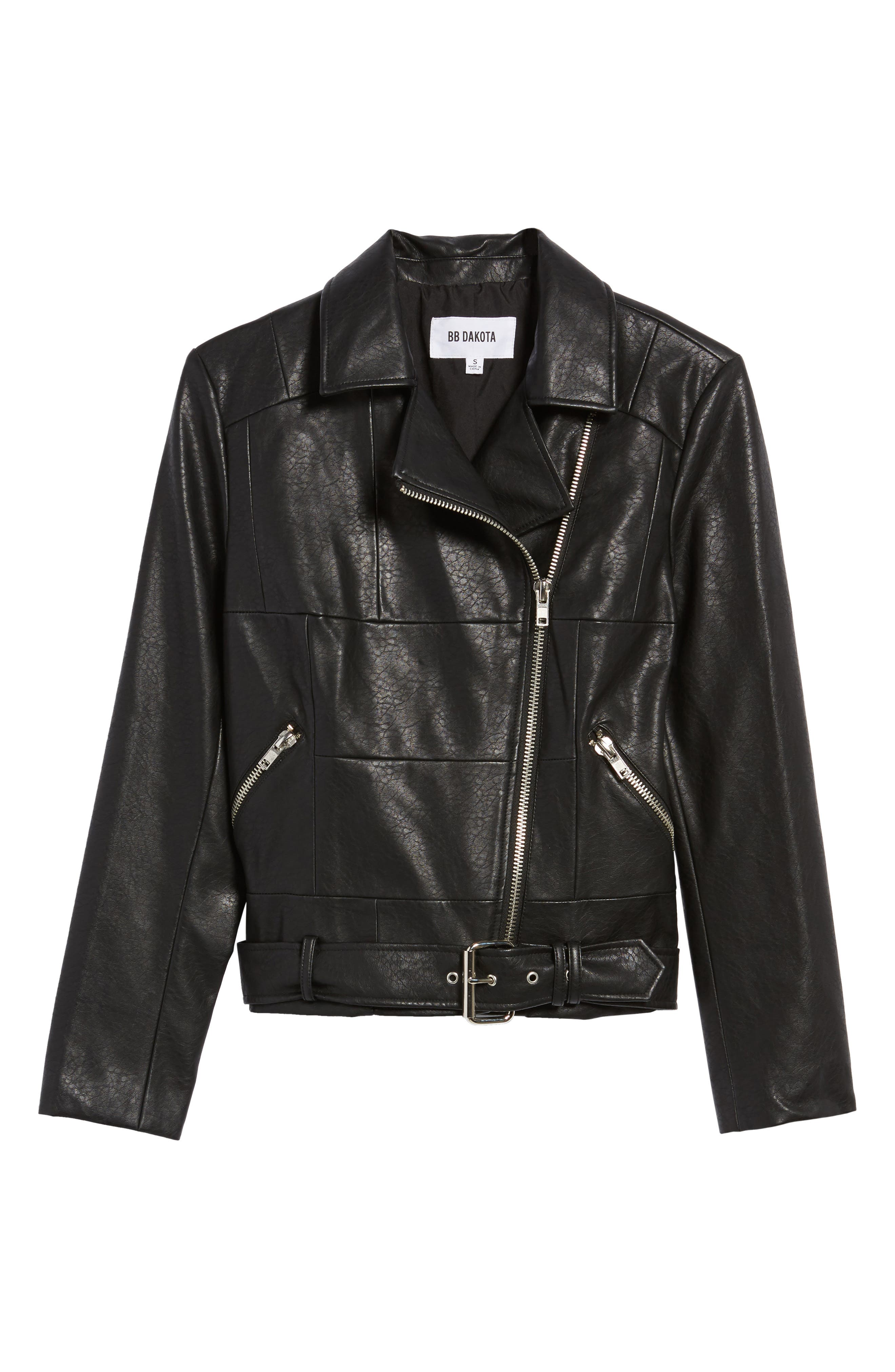 Maria Washed Faux Leather Patchwork Jacket,                             Alternate thumbnail 5, color,                             001