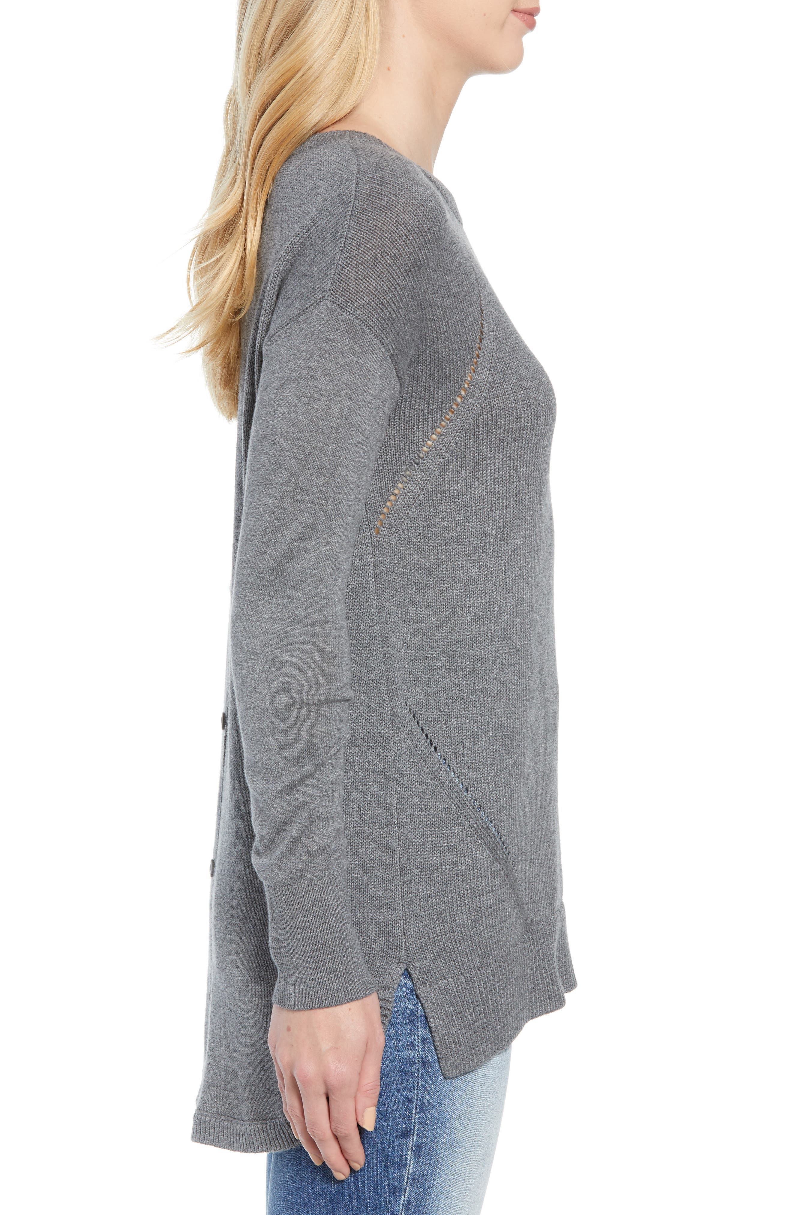 Button Back Tunic Sweater,                             Alternate thumbnail 3, color,                             GREY DARK HEATHER