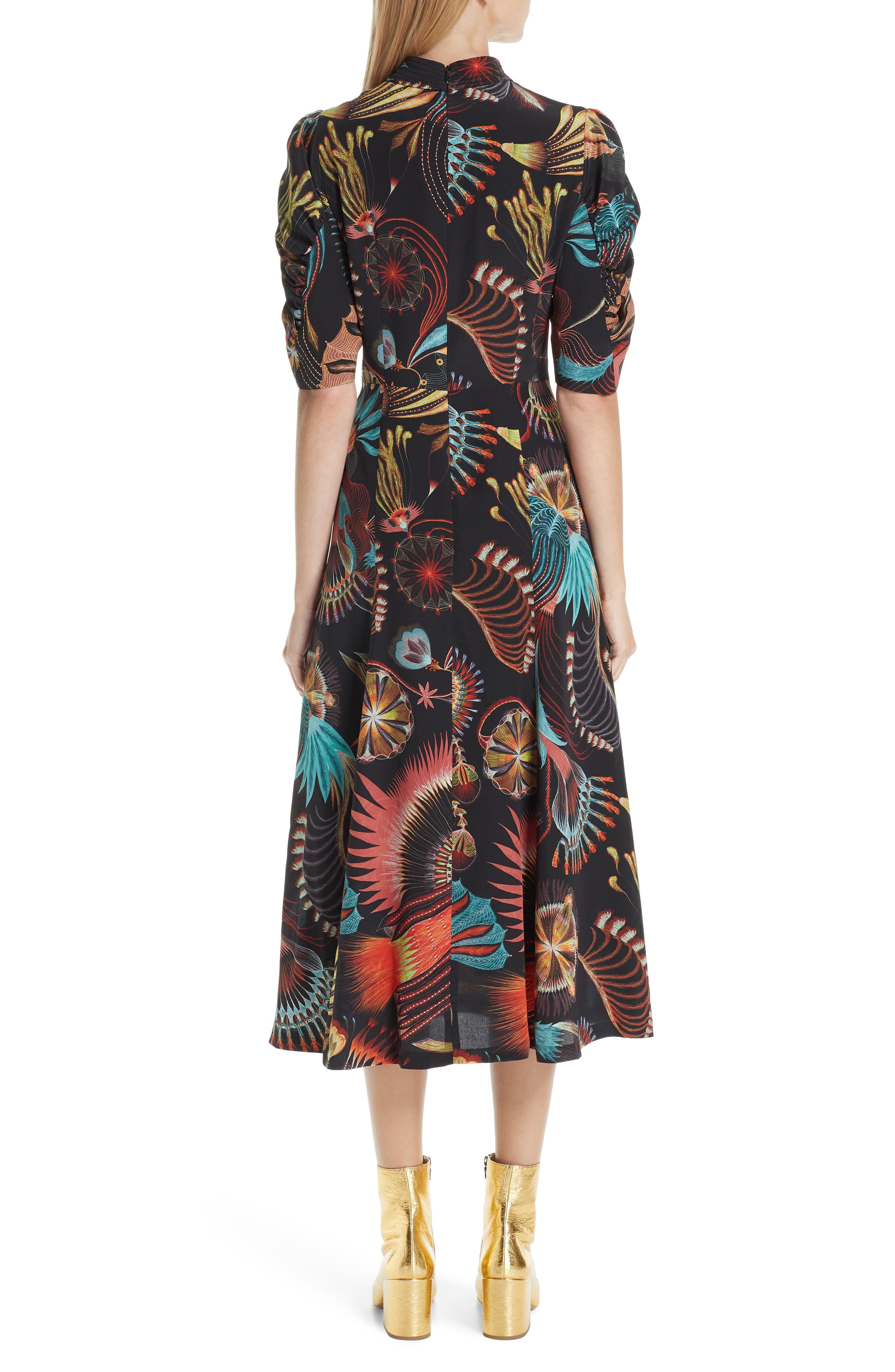 Tattoo Floral Print Silk Dress,                             Alternate thumbnail 2, color,                             BLACK