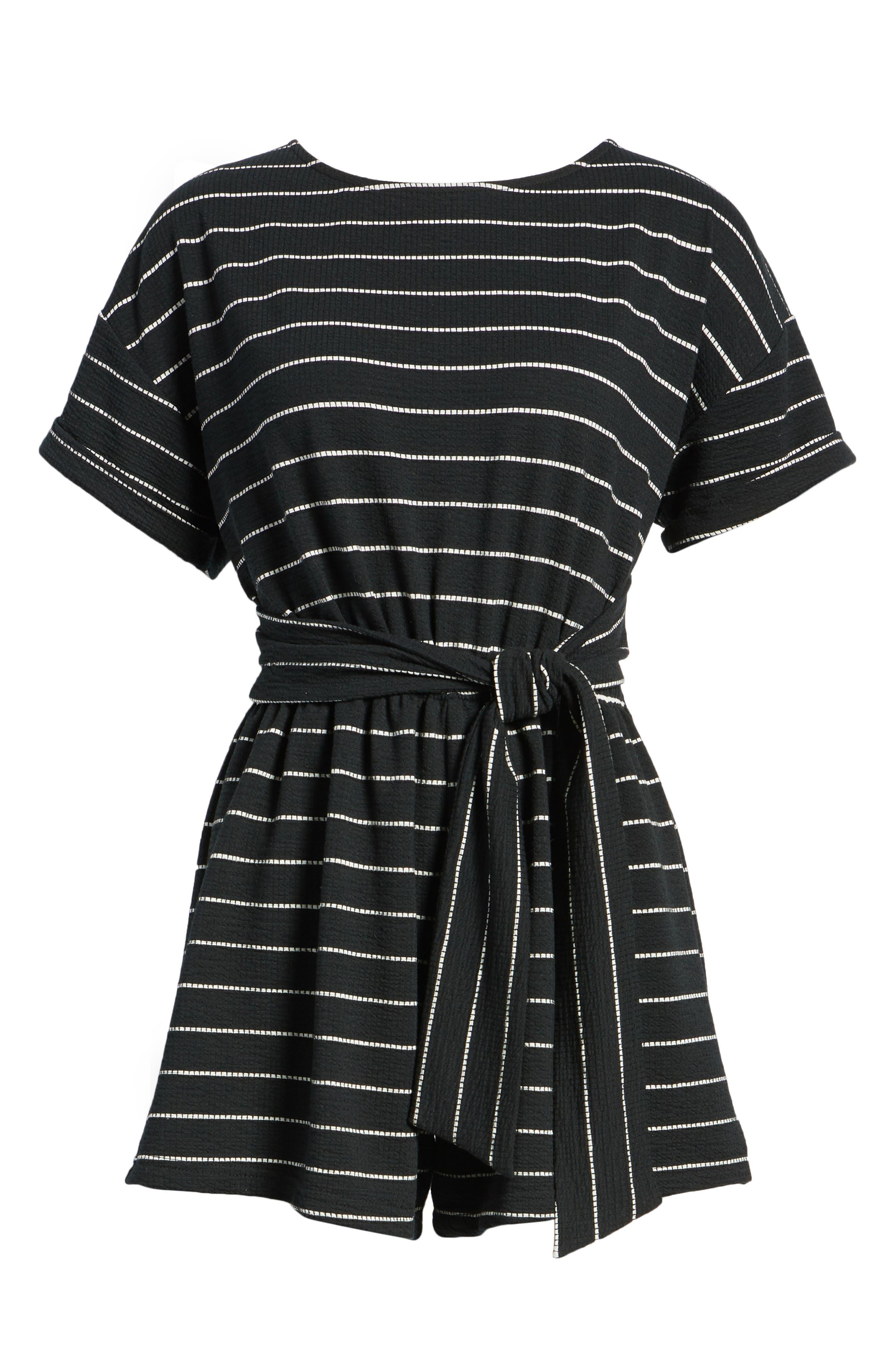 Stripe Knit Romper,                             Alternate thumbnail 7, color,                             004
