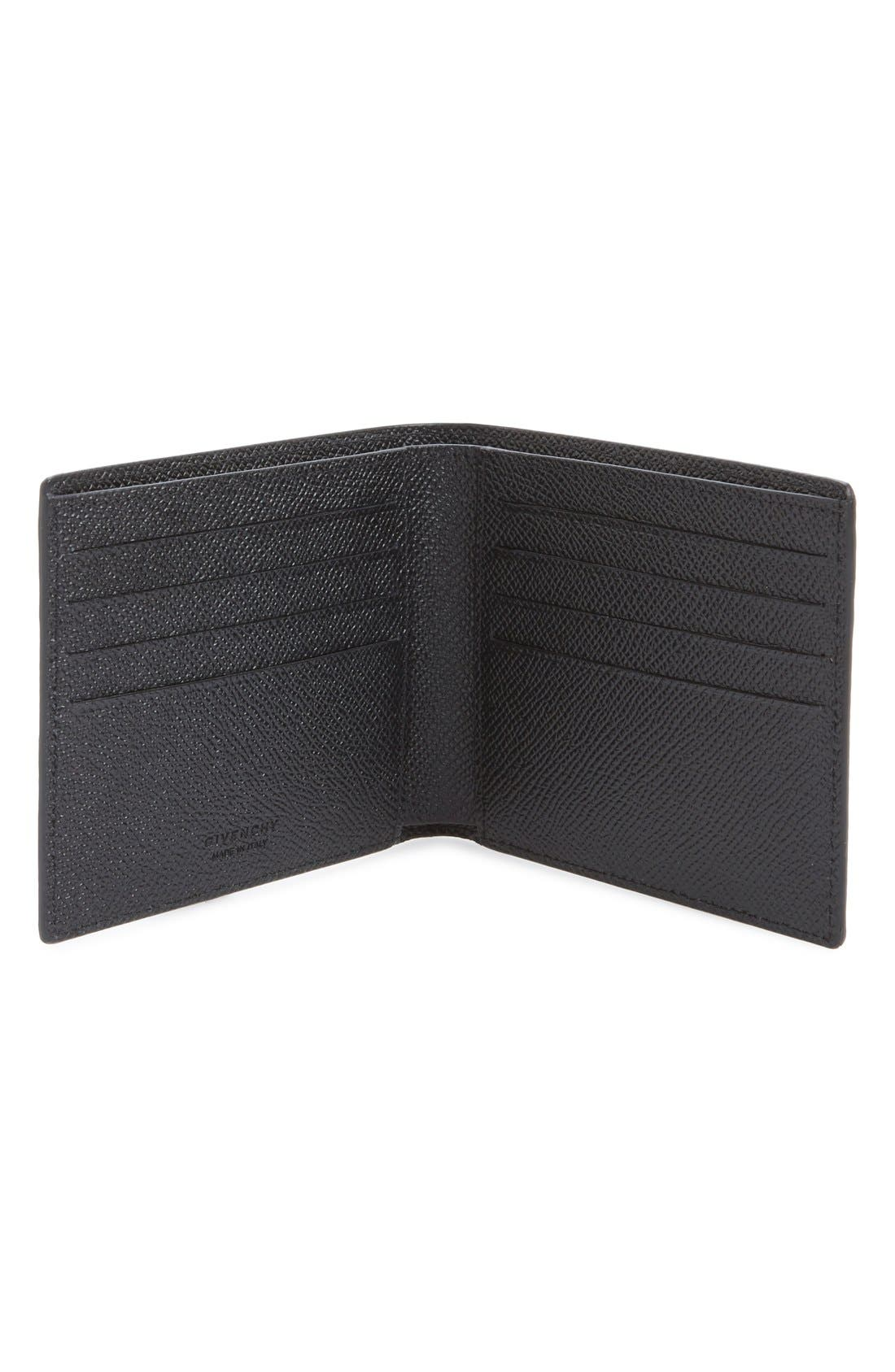 Calfskin Leather Bifold Wallet,                             Alternate thumbnail 2, color,                             BLACK