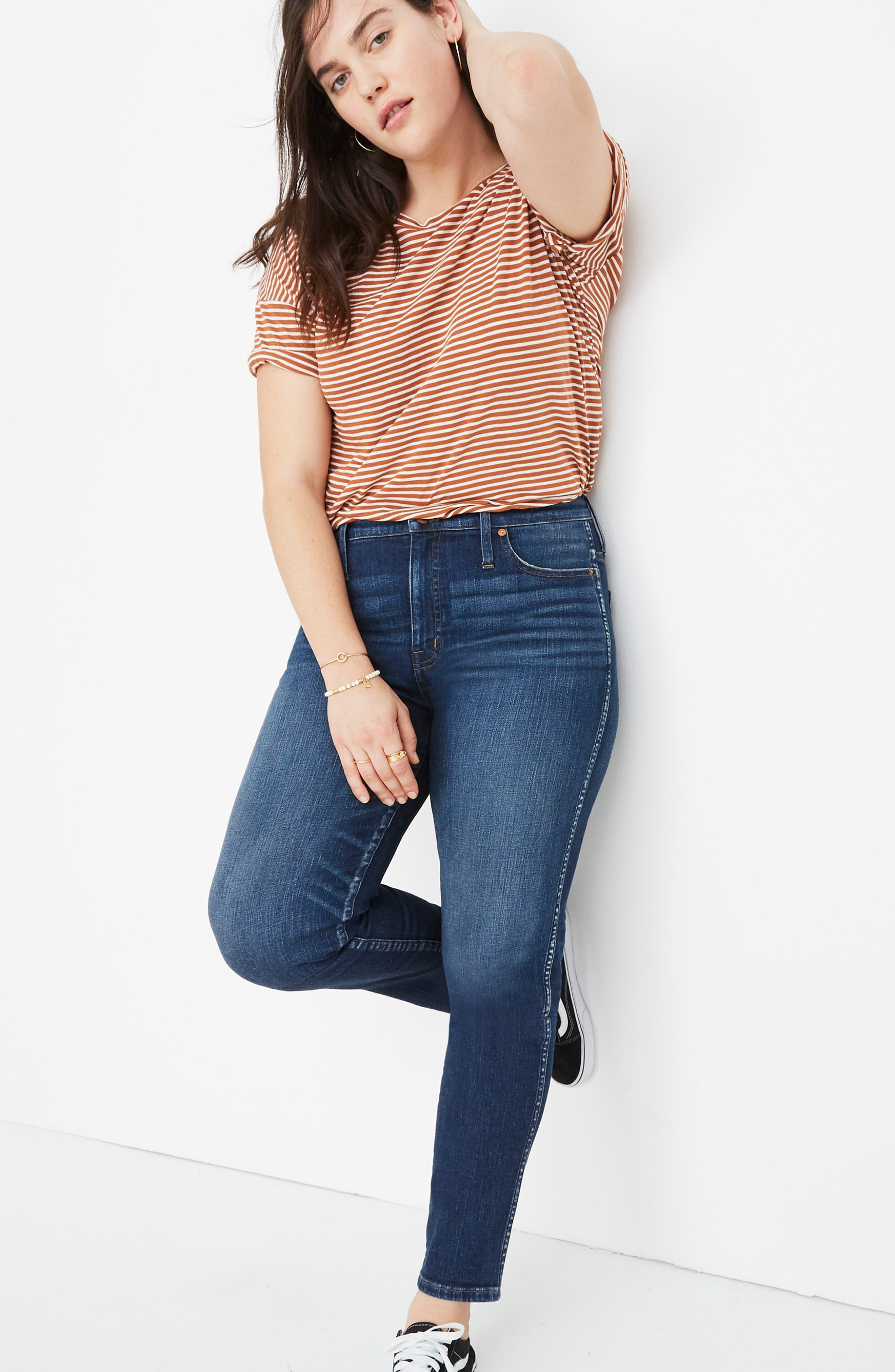 High Waist Slim Straight Leg Jeans,                             Alternate thumbnail 12, color,                             HAMMOND