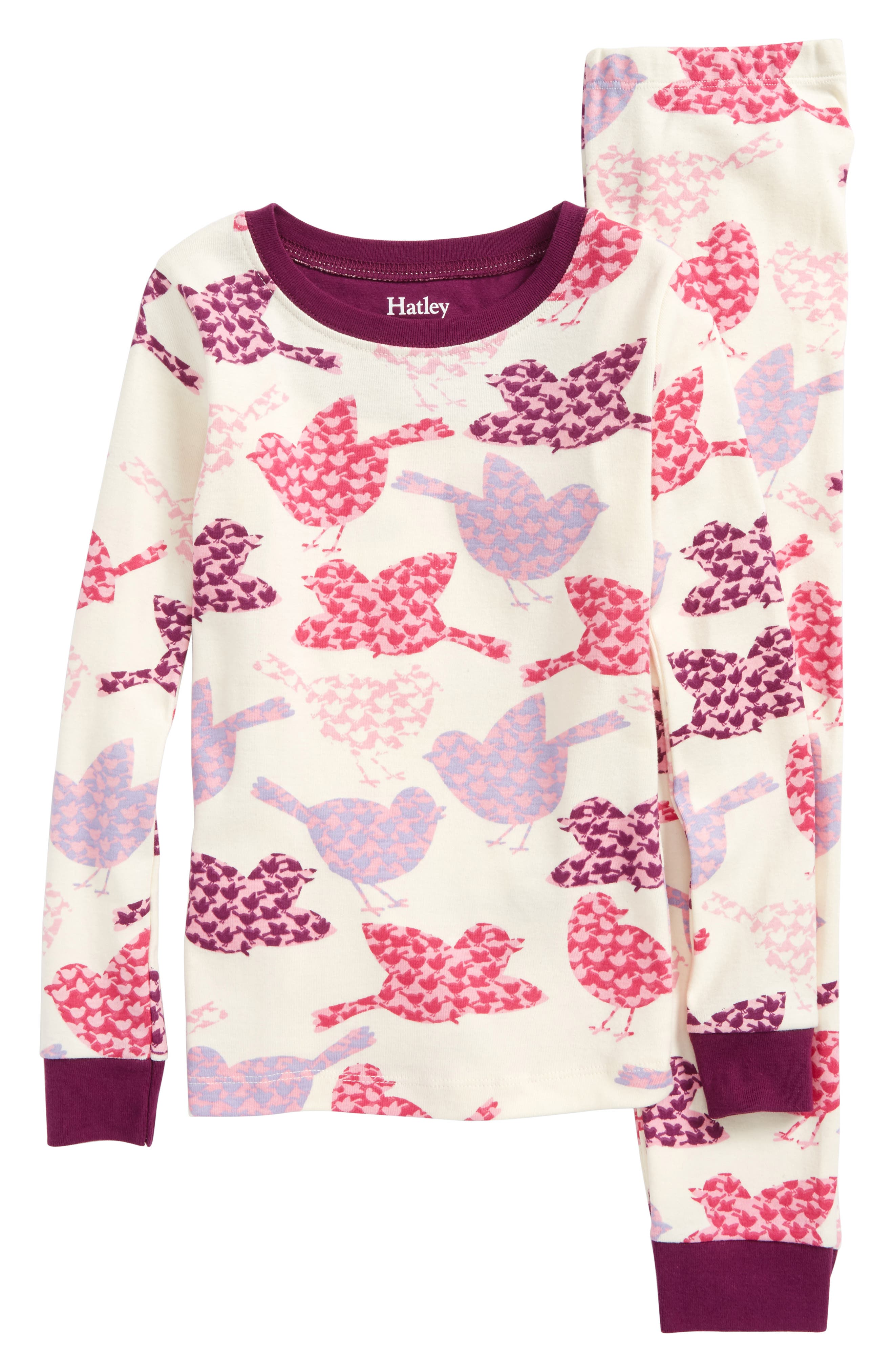 Bird Print Organic Cotton Fitted Two-Piece Pajamas,                         Main,                         color, 100