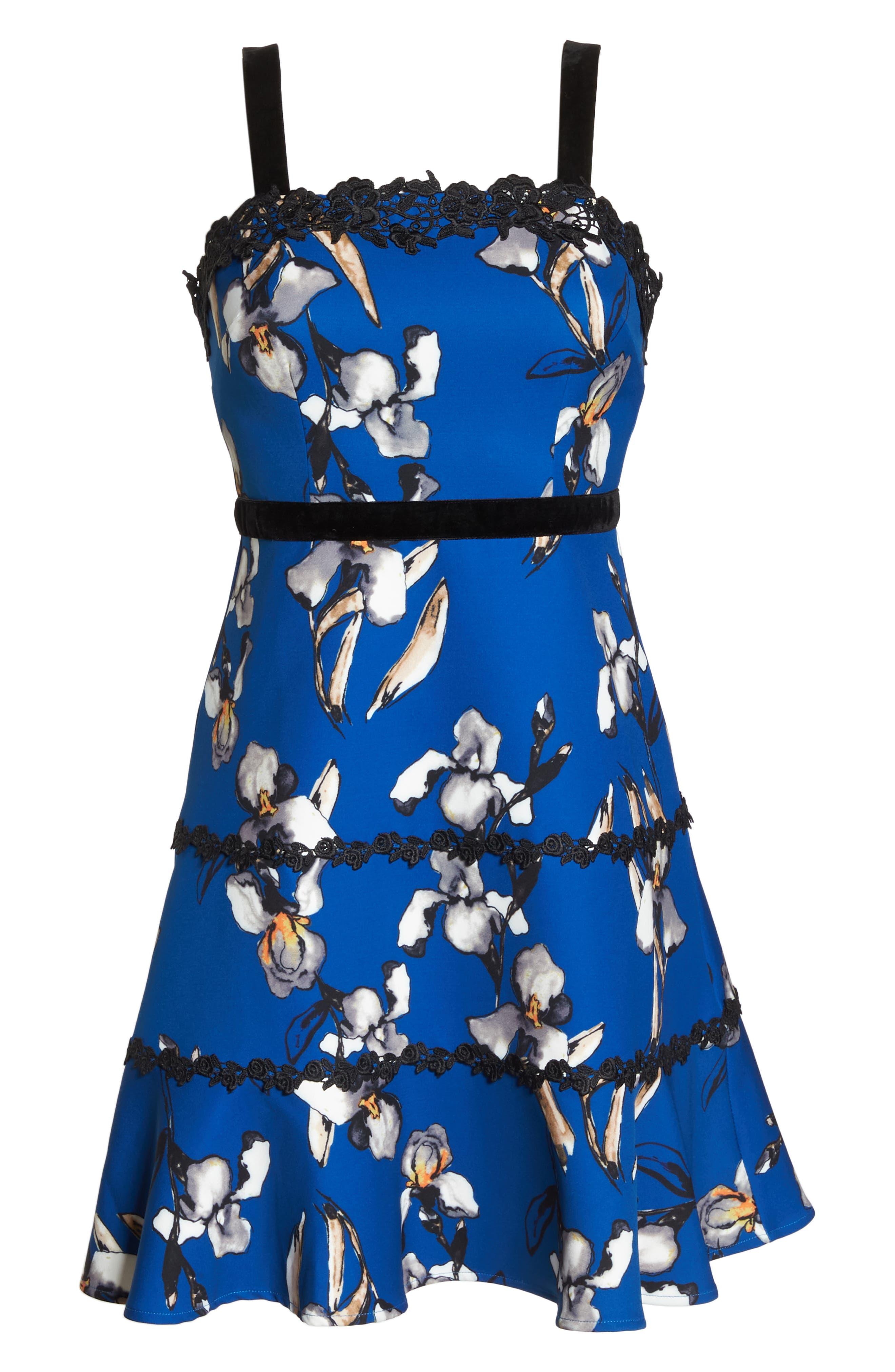 Carmella Lace Stripe Fit & Flare Dress,                             Alternate thumbnail 6, color,                             CARMELLA MULTI