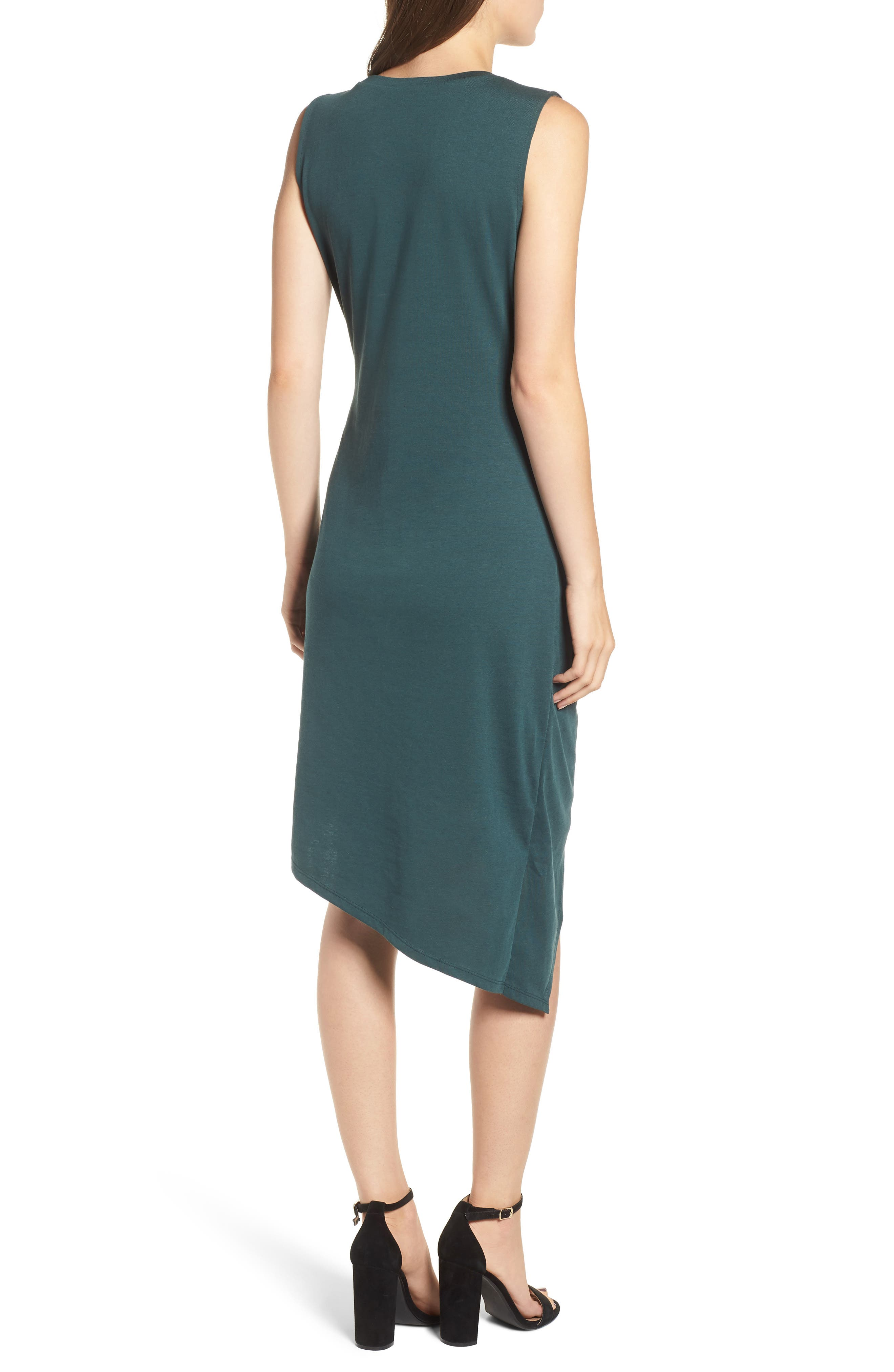 Twist Front Dress,                             Alternate thumbnail 2, color,                             GREEN GABLES