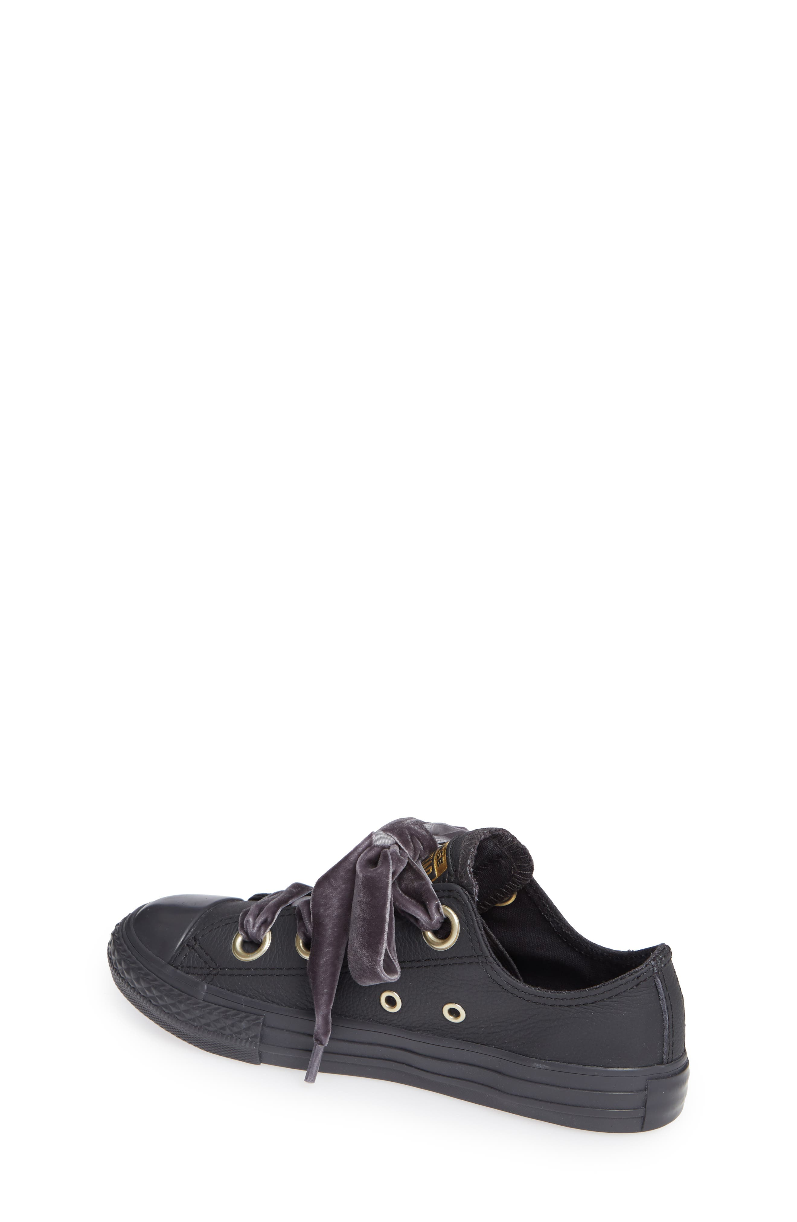 Chuck Taylor<sup>®</sup> All Star<sup>®</sup> Big Eyelet Leather Sneaker,                             Alternate thumbnail 2, color,                             BLACK
