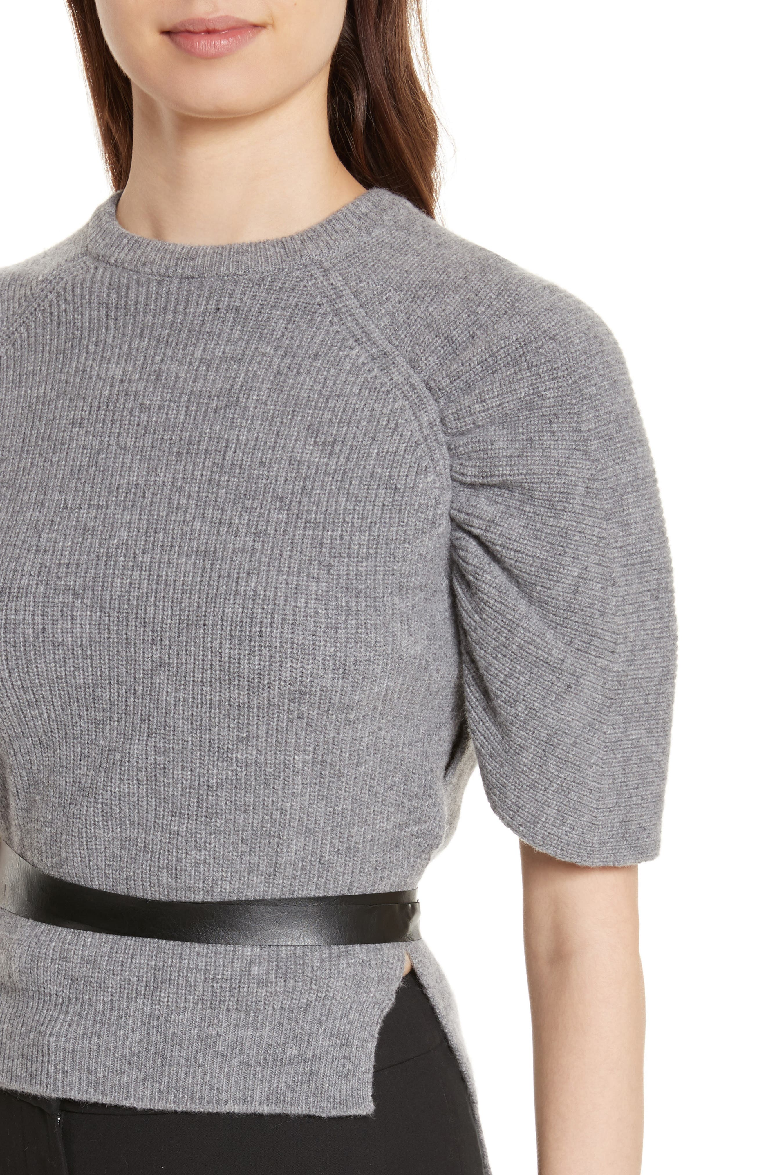 Belted Carded Wool Sweater,                             Alternate thumbnail 4, color,