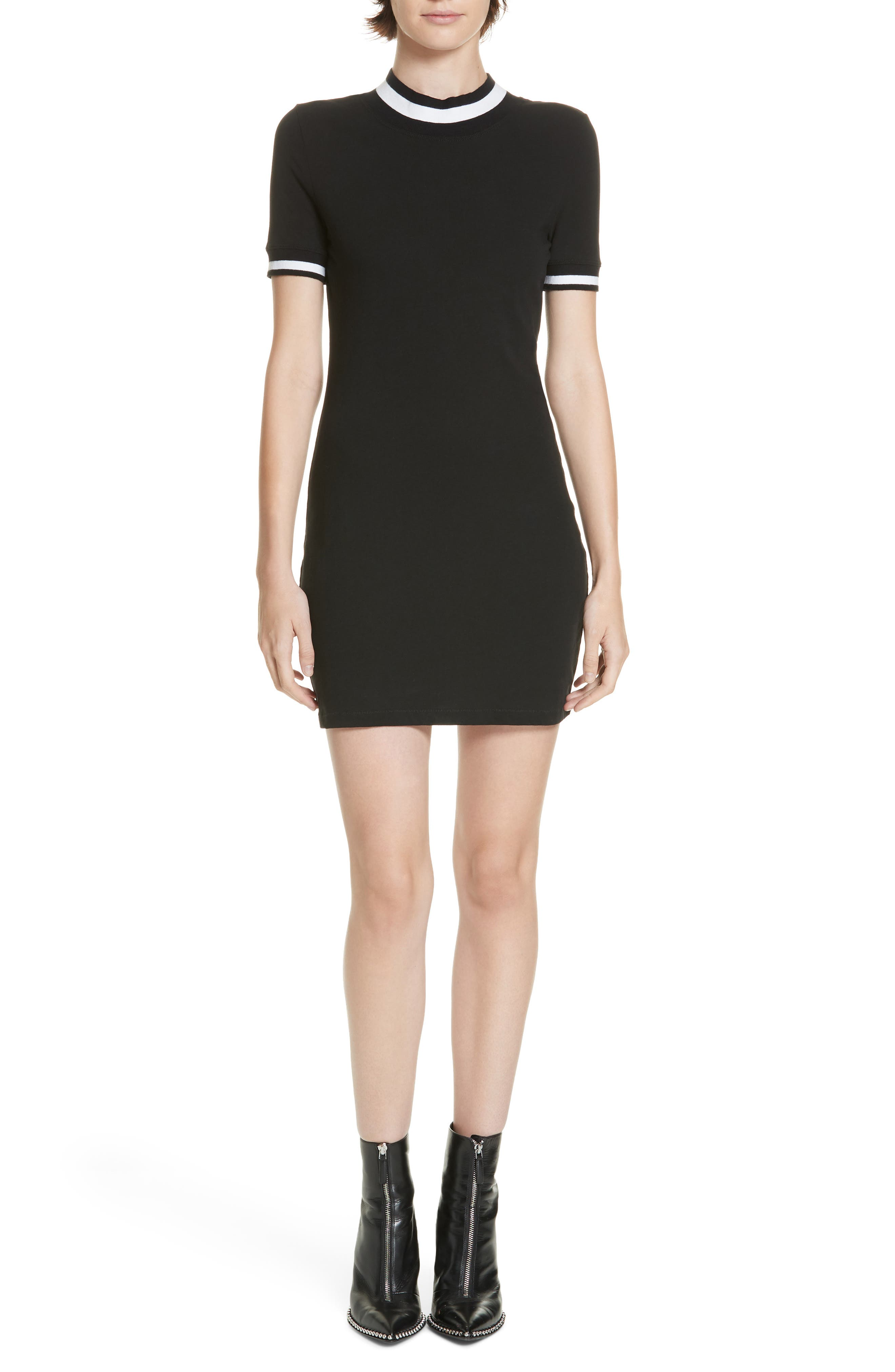 Alexanderwang.t Stripe Jersey Dress, Black
