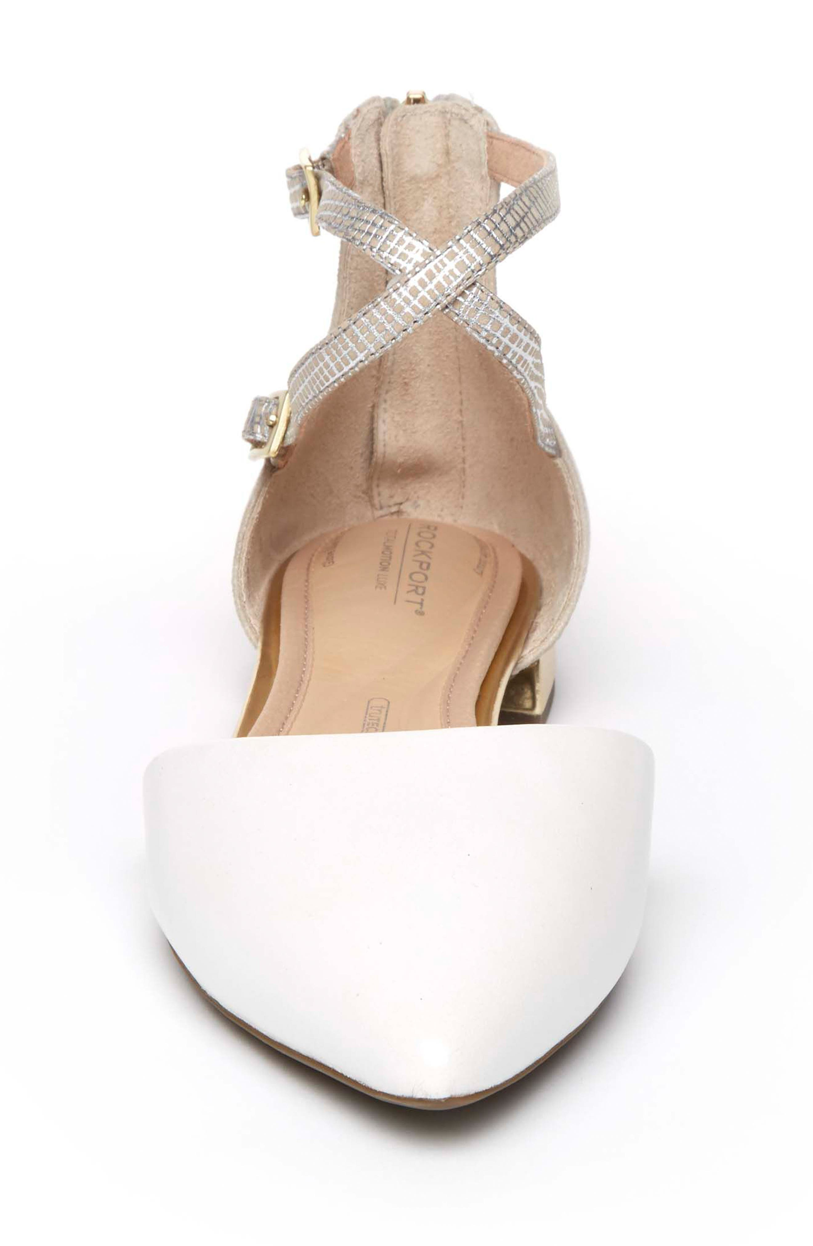 Total Motion<sup>®</sup> Zuly Luxe Ankle Strap Flat,                             Alternate thumbnail 4, color,                             WHITE LEATHER