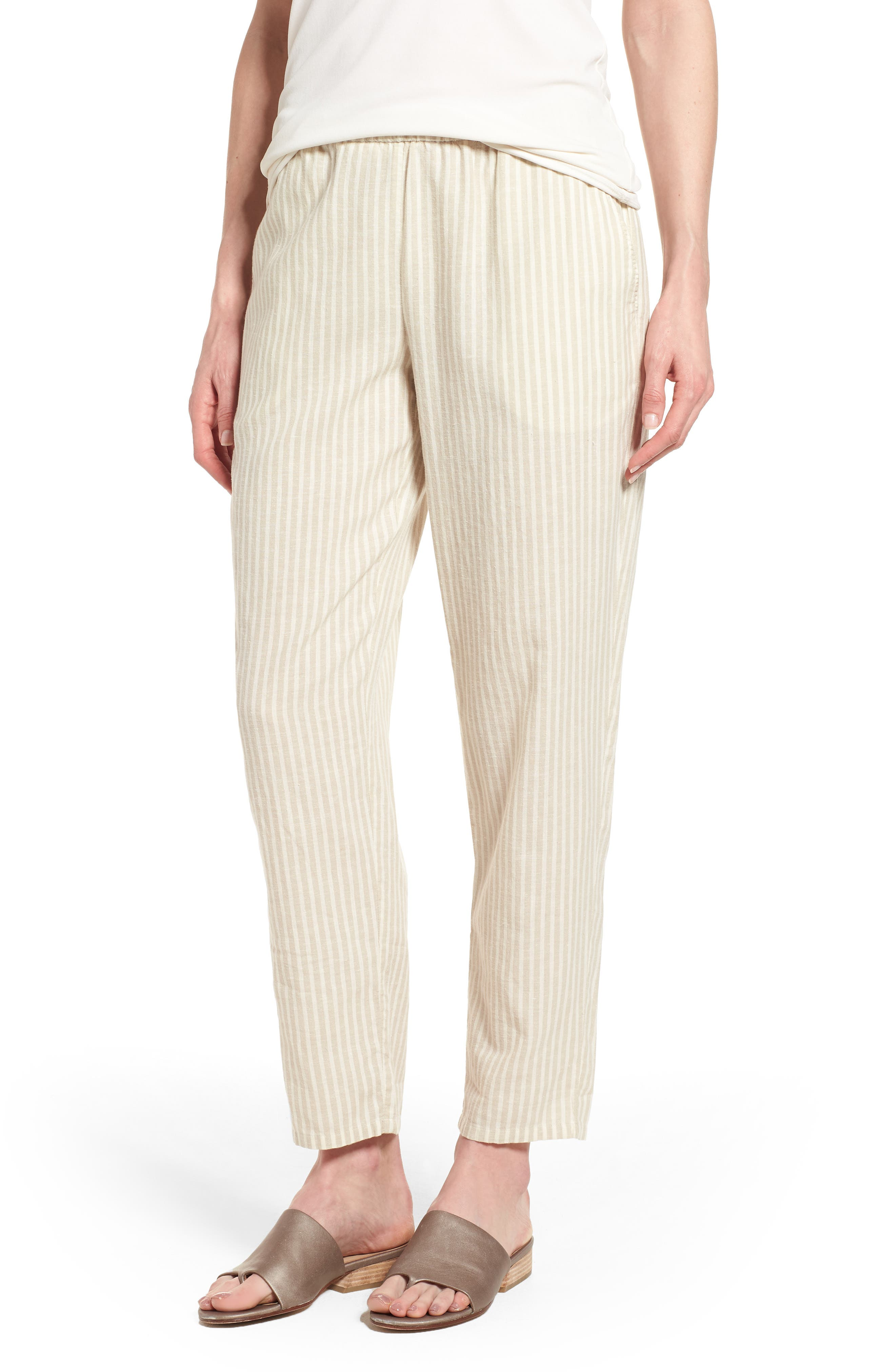 Stripe Tapered Hemp Blend Ankle Pants,                         Main,                         color, 257
