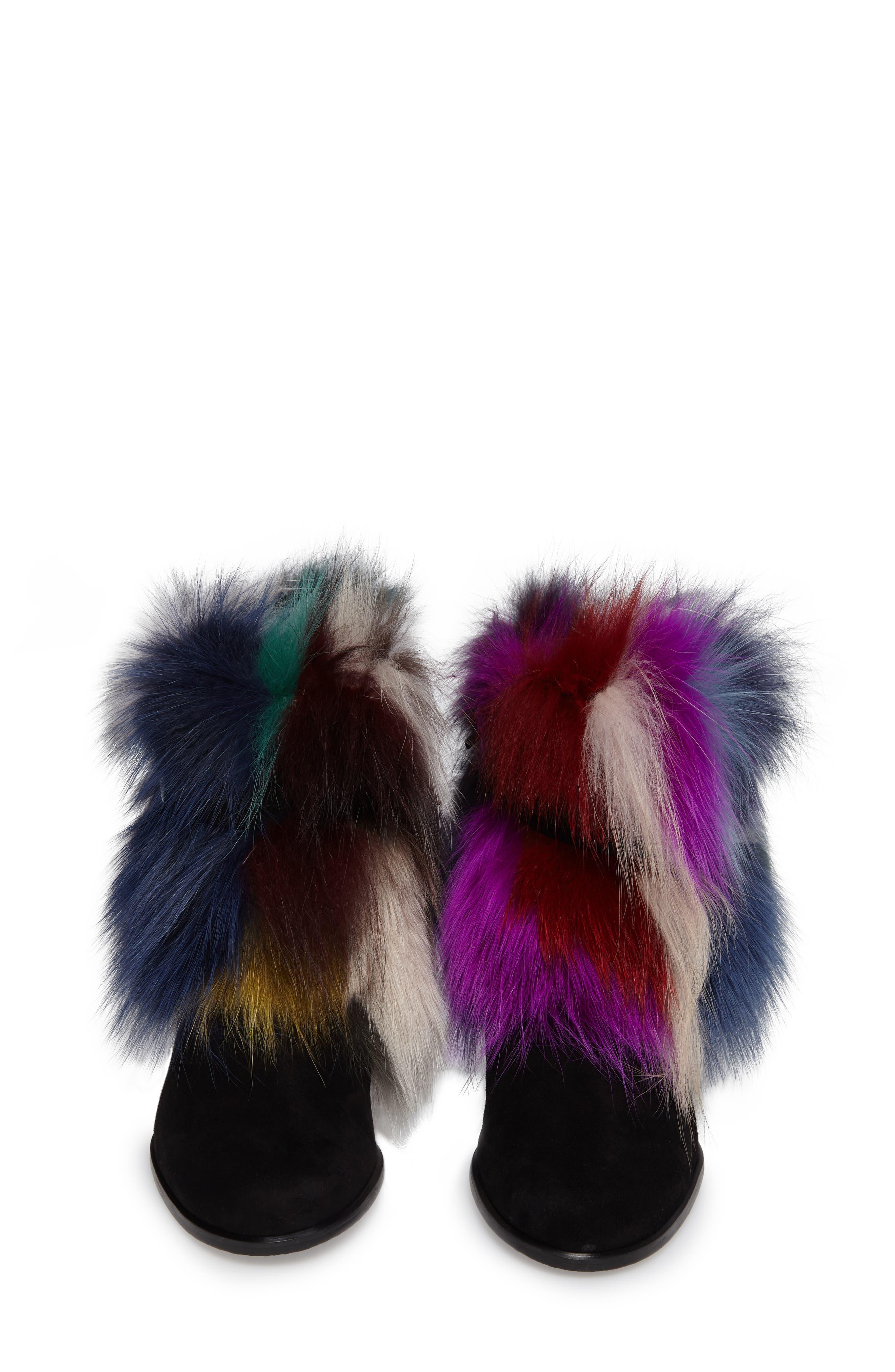 Midgofurit Genuine Fox Fur Bootie,                             Alternate thumbnail 4, color,                             001