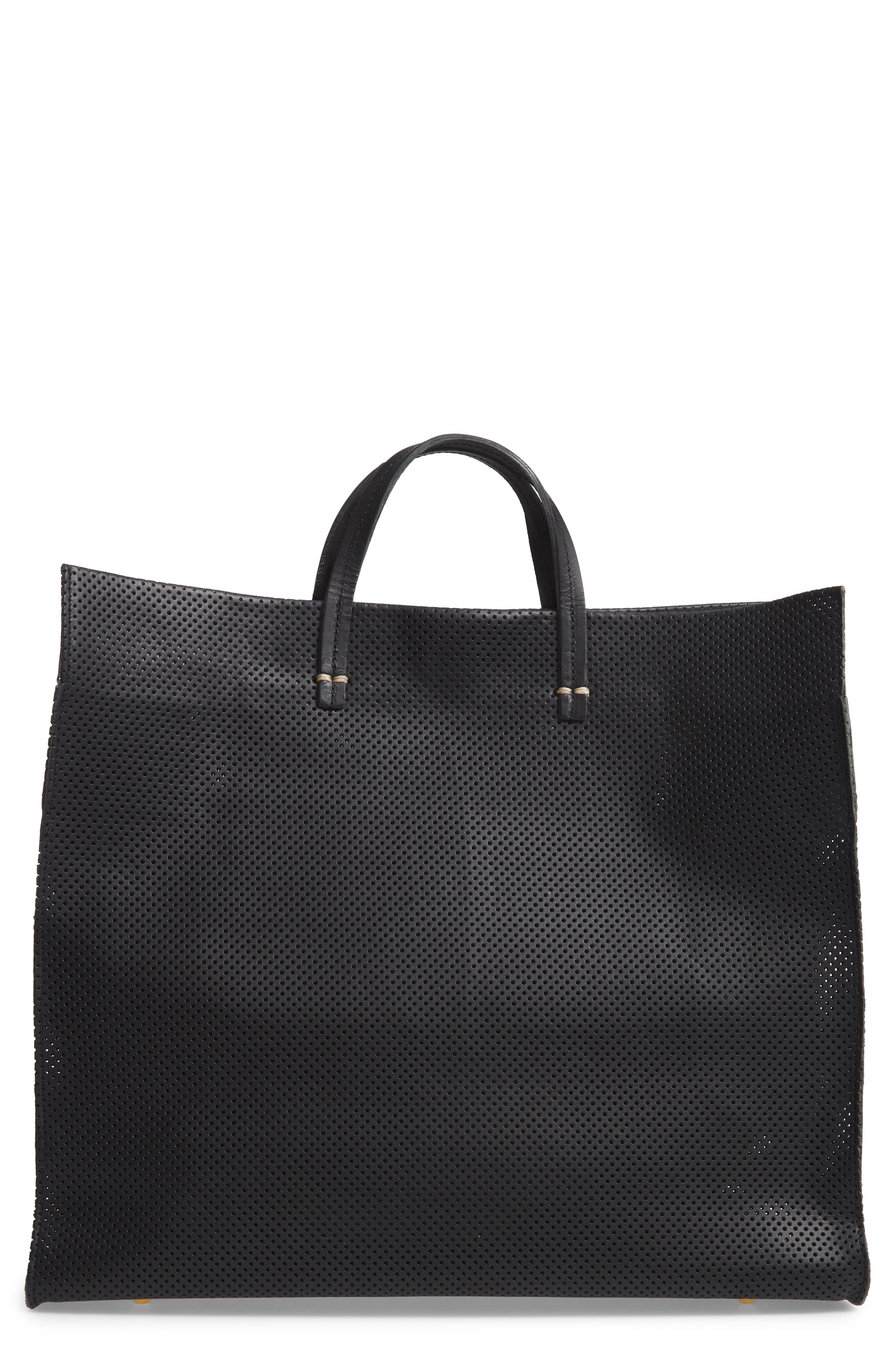 CLARE V Simple Perforated Leather Tote - Black in Black Perf