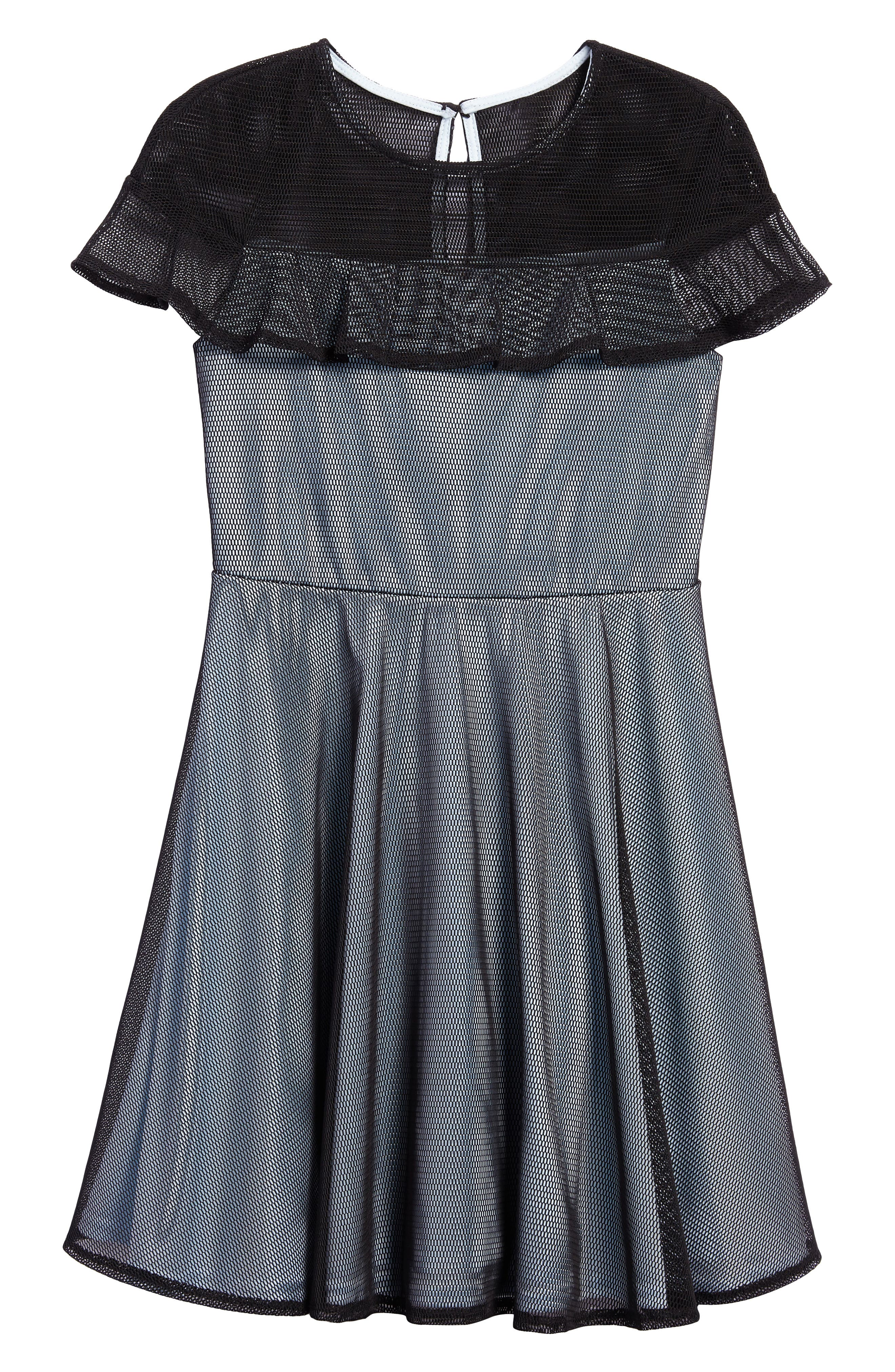 PASTOURELLE BY PIPPA & JULIE,                             Ruffle Mesh Overlay Dress,                             Main thumbnail 1, color,                             001