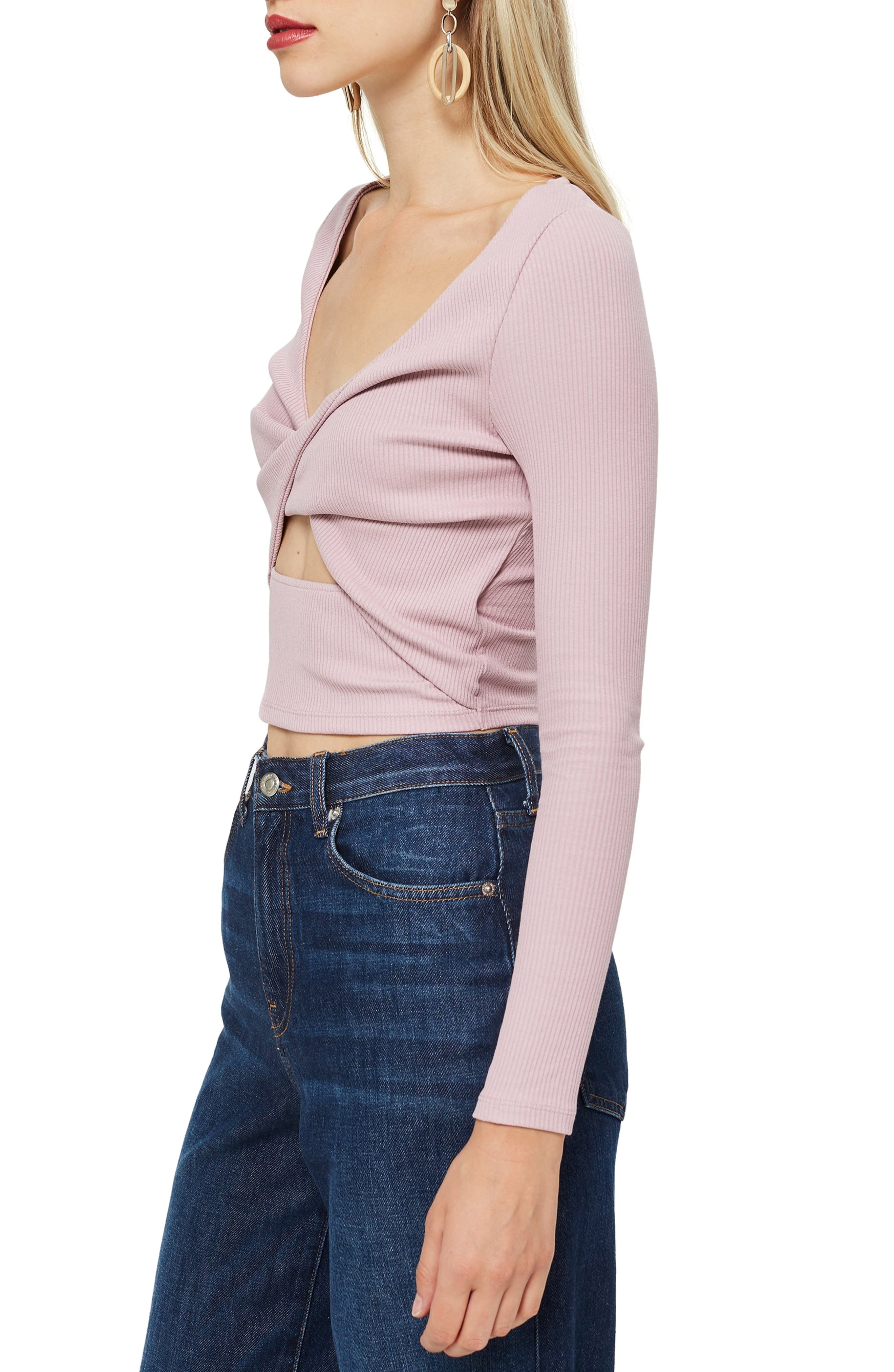 Twist Front Rib Top,                             Alternate thumbnail 3, color,                             LILAC