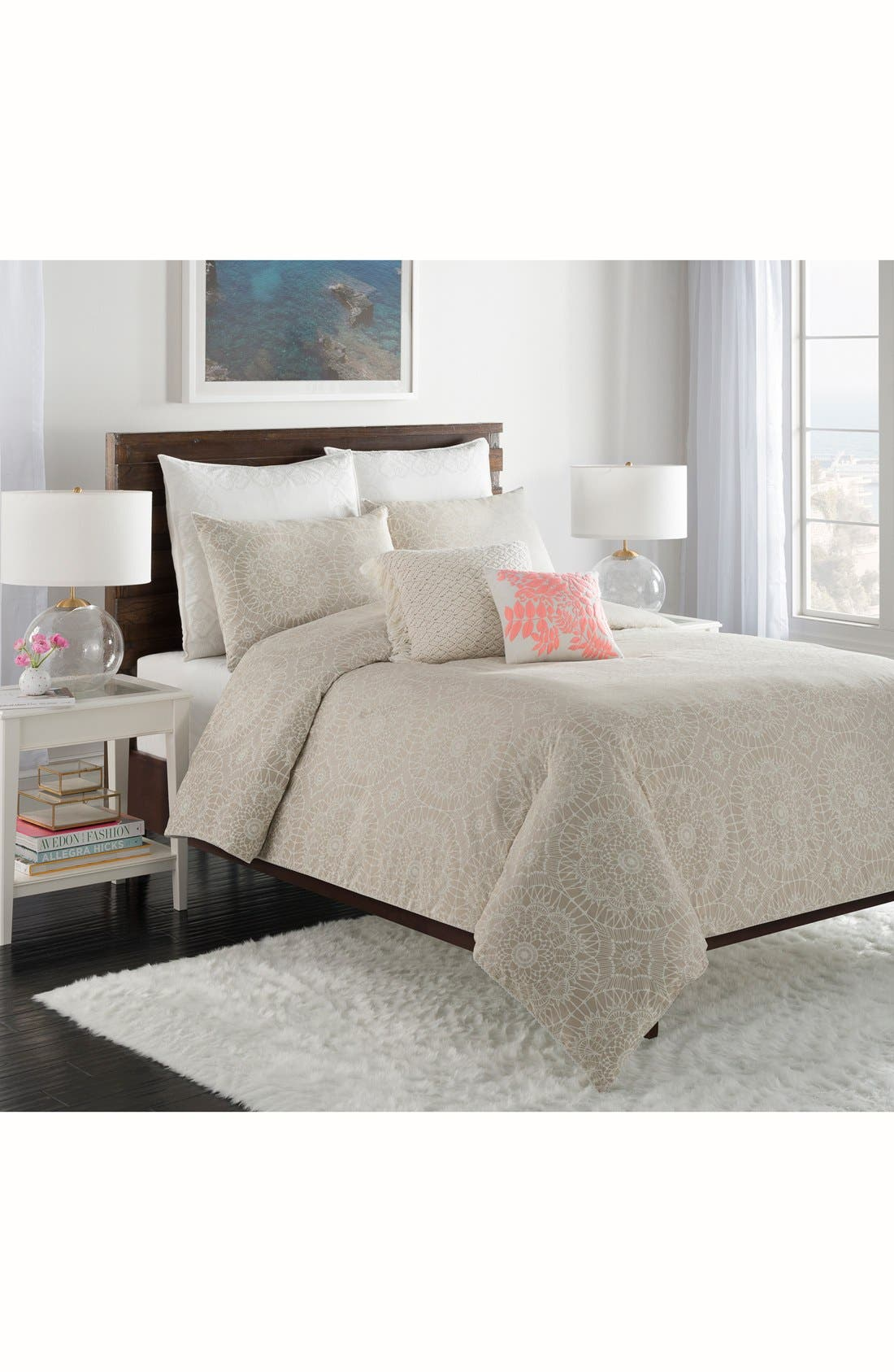 'Lace Medallion' Duvet Cover,                         Main,                         color, 250