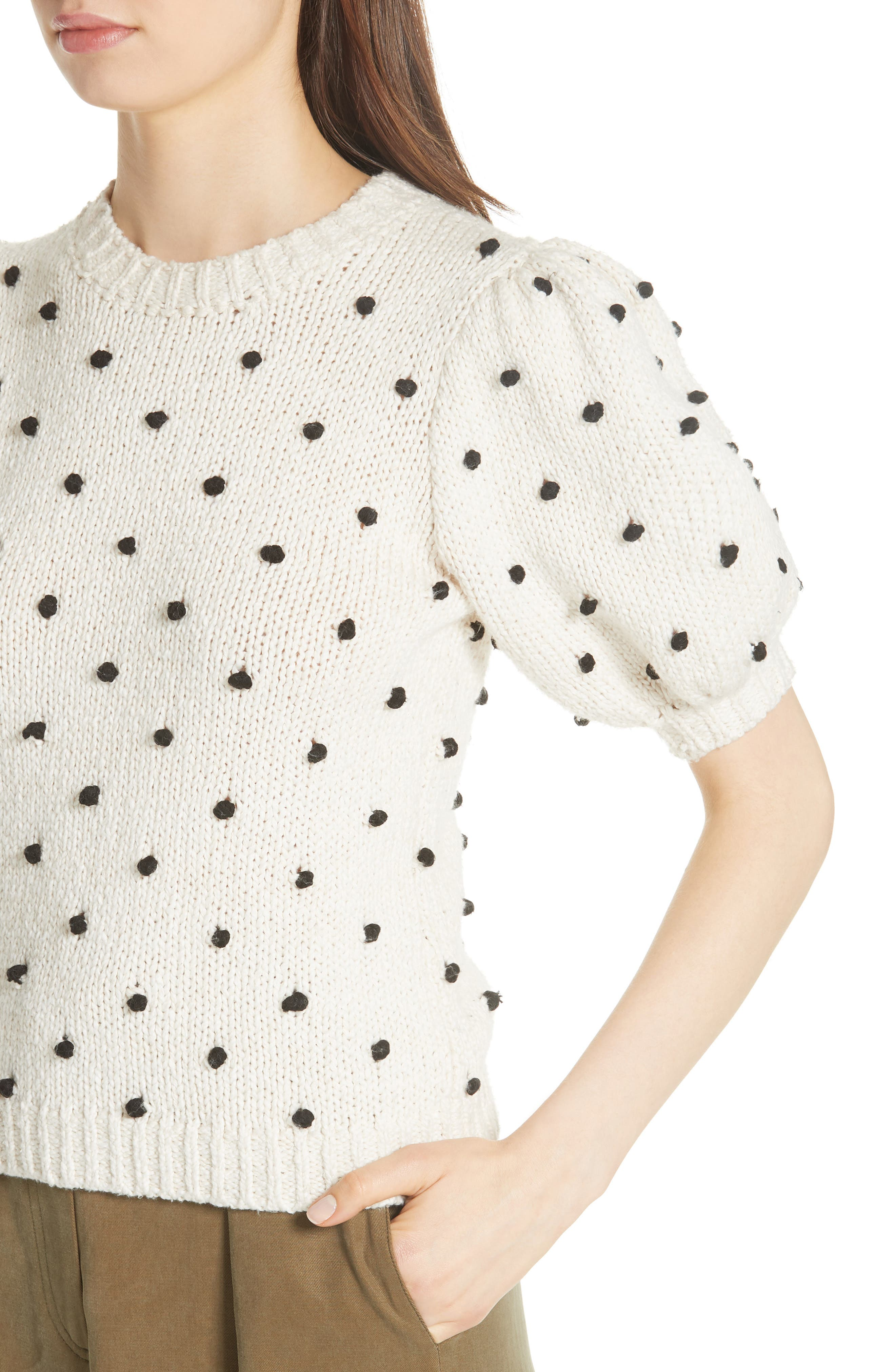 Bettine Puff Sleeve Polka Dot Sweater,                             Alternate thumbnail 4, color,