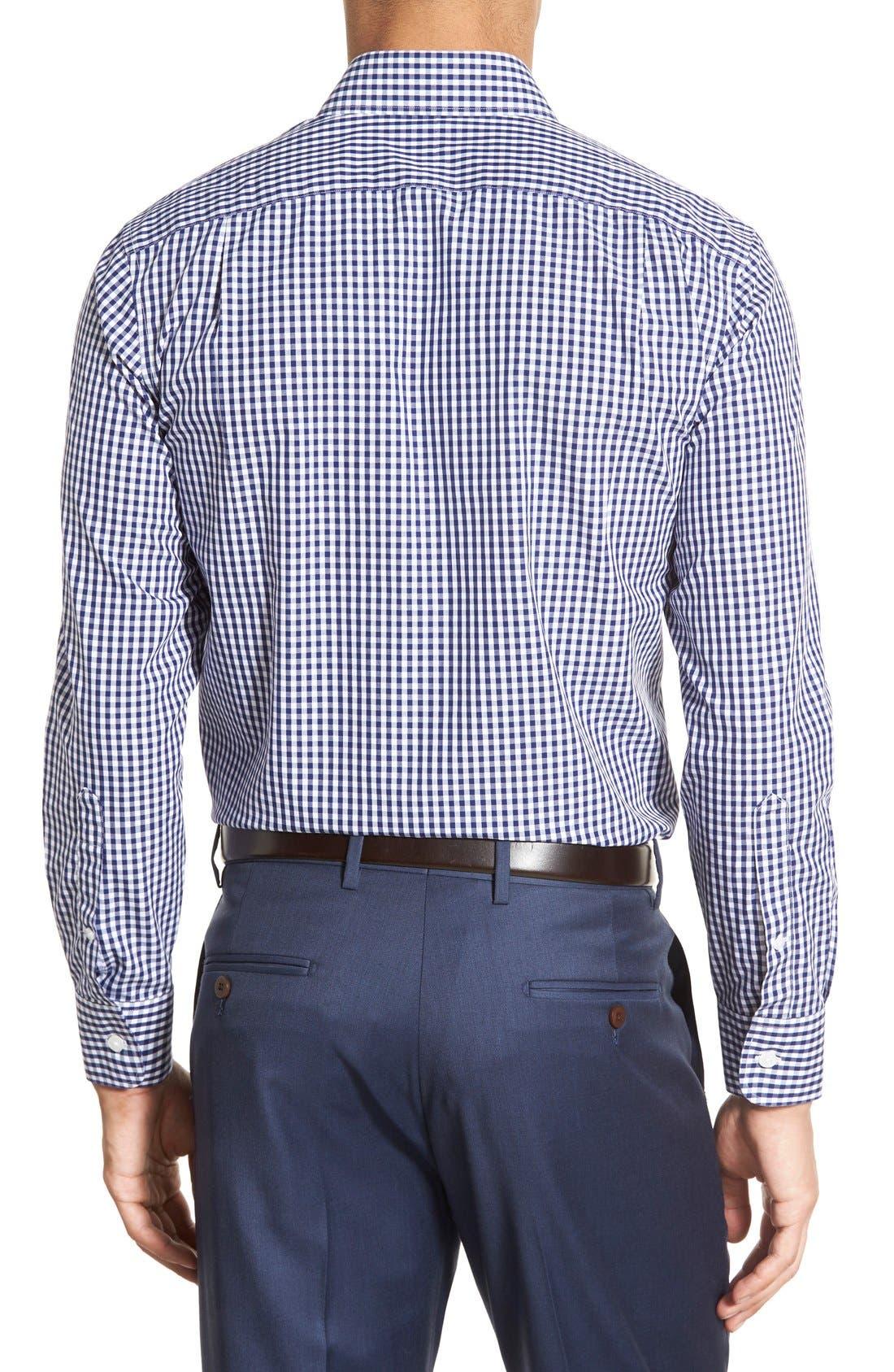 Slim Fit Wrinkle Free Check Dress Shirt,                             Alternate thumbnail 3, color,                             NAVY