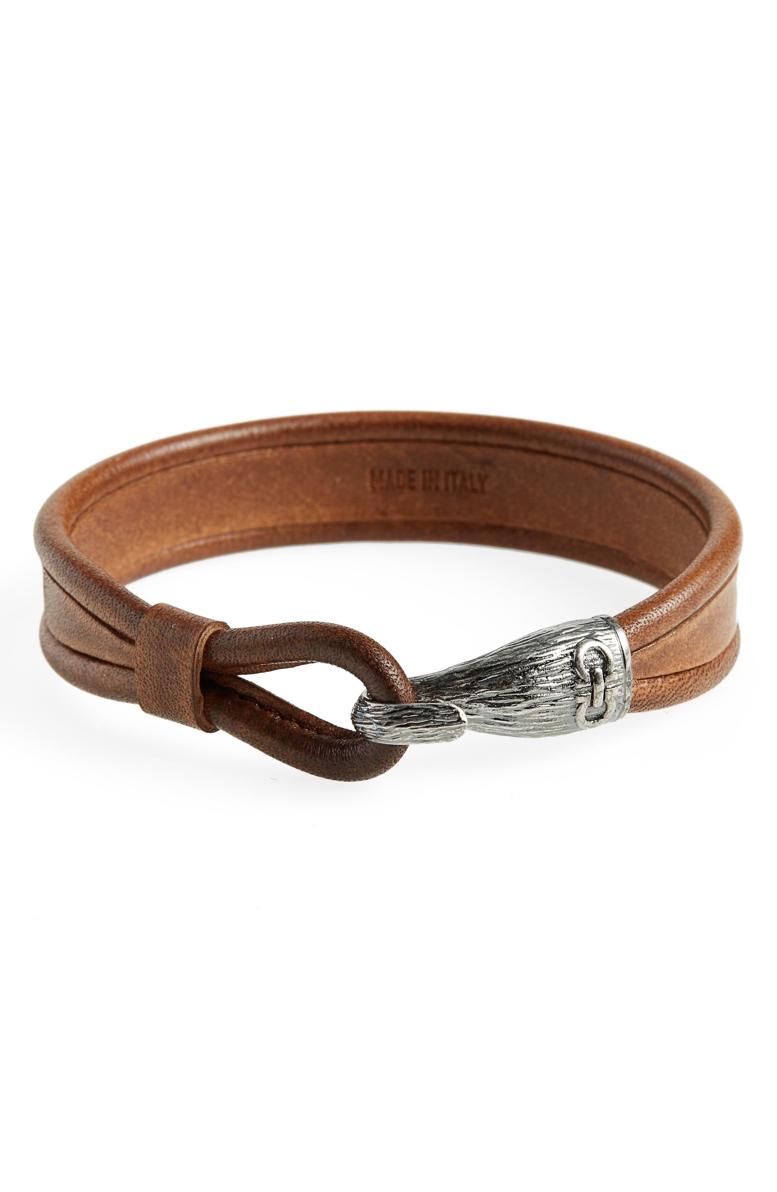 Leather Bracelet,                             Main thumbnail 2, color,