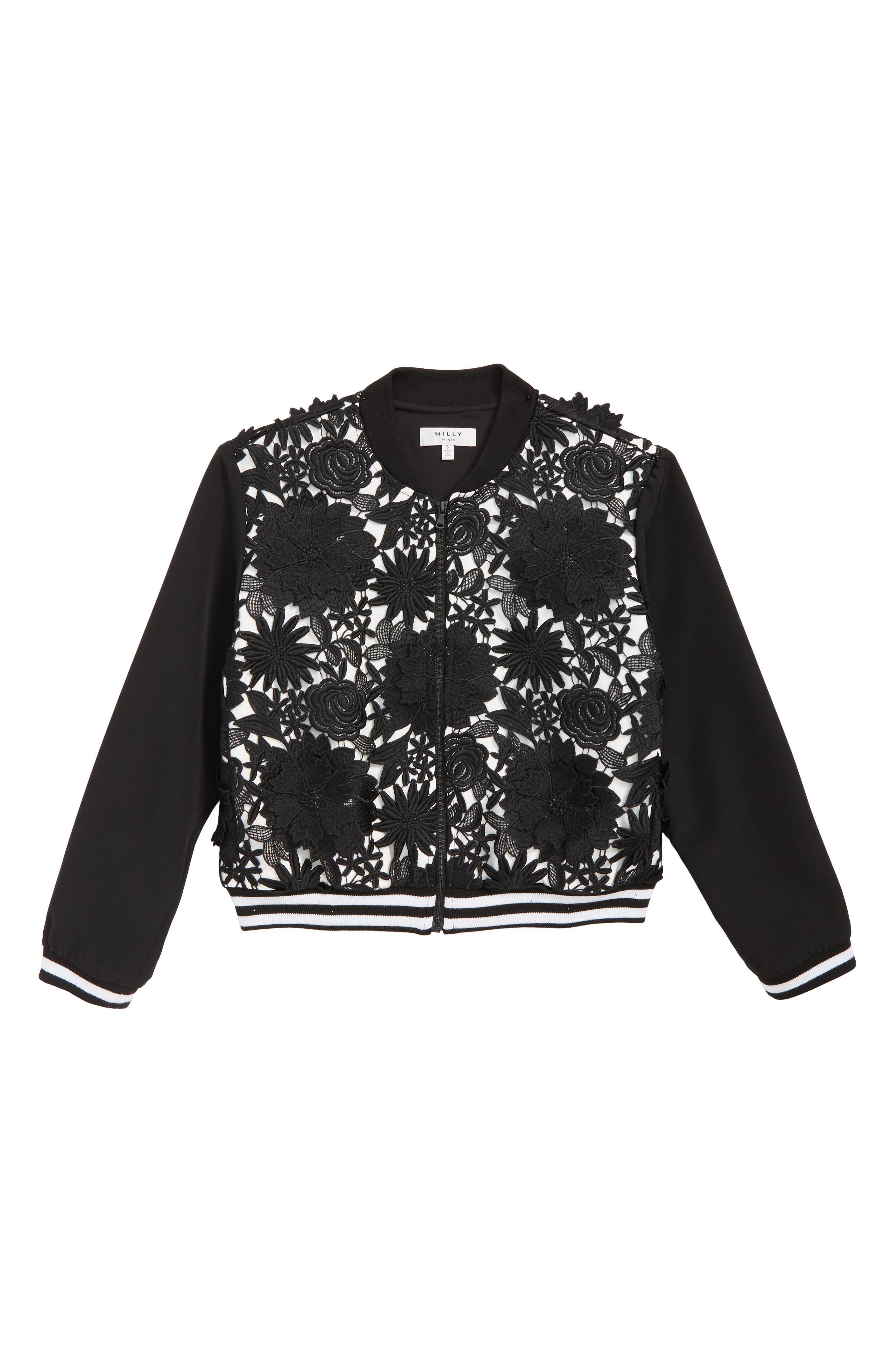 Floral Appliqué Bomber Jacket,                             Main thumbnail 1, color,                             BLACK