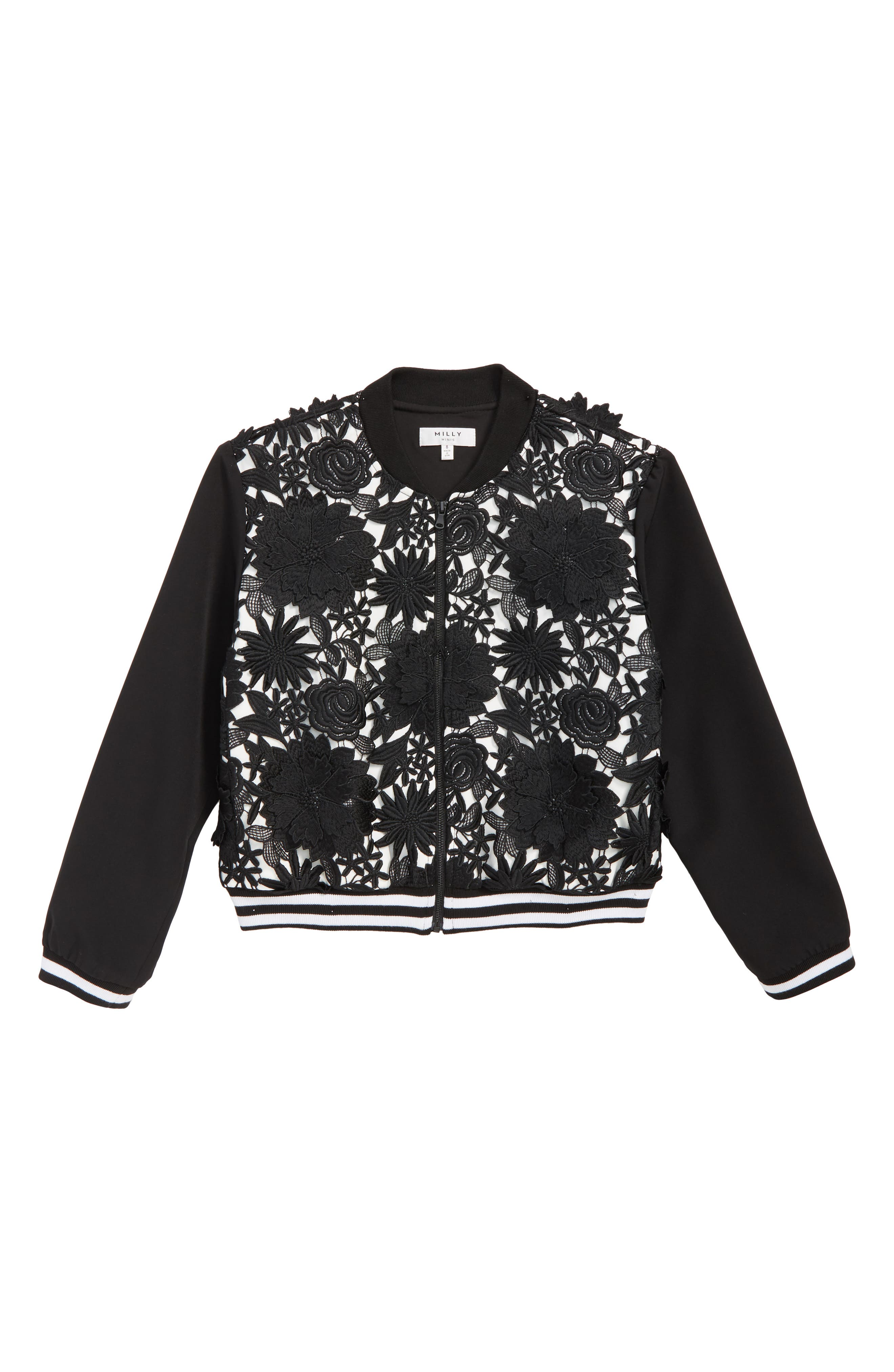 Floral Appliqué Bomber Jacket,                         Main,                         color, BLACK