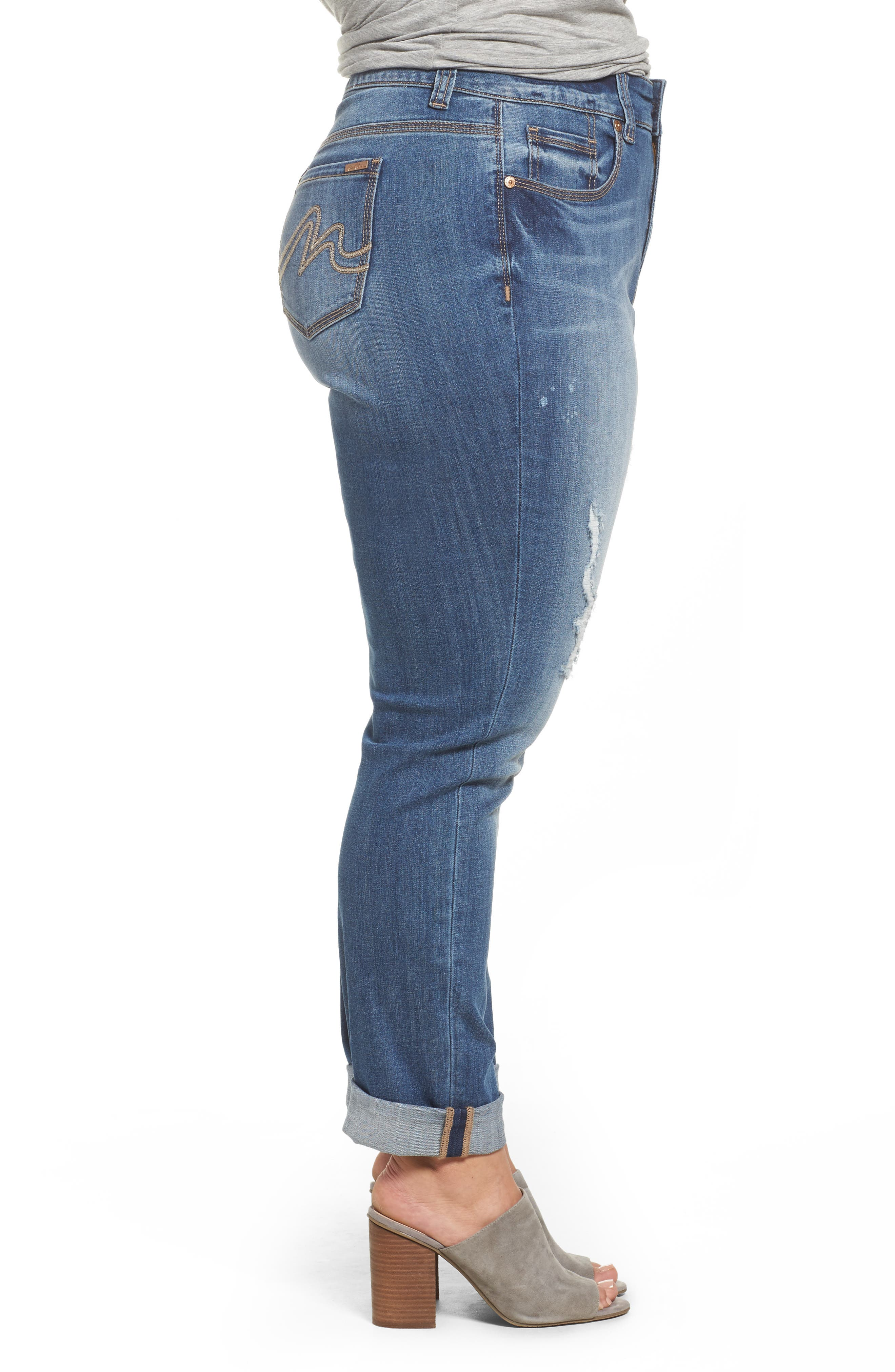 Cuffed Girlfriend Jeans,                             Alternate thumbnail 3, color,                             453