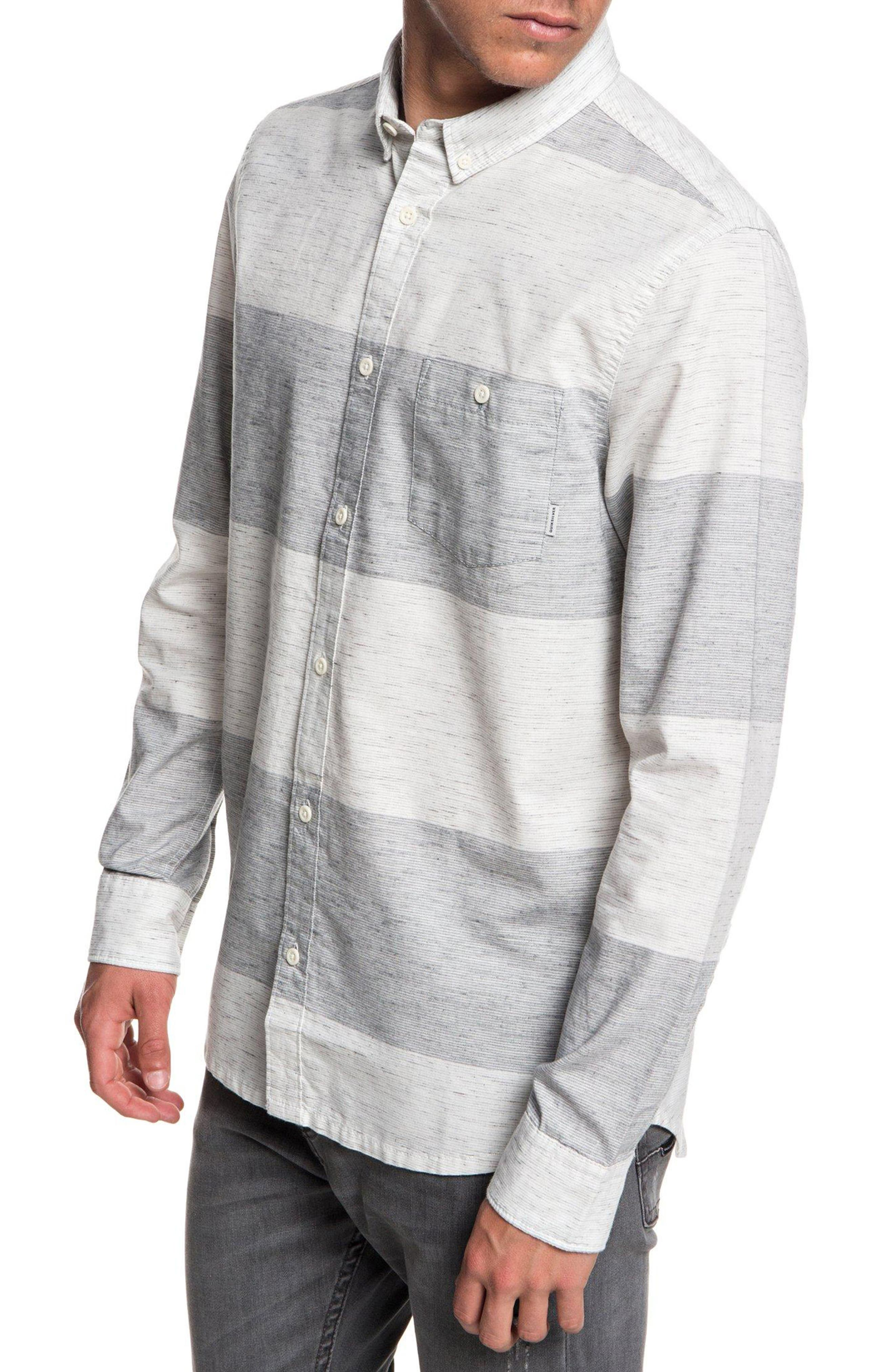 Minoo Valley Striped Shirt,                             Alternate thumbnail 3, color,                             IRON GATE MARBLE NEPPY