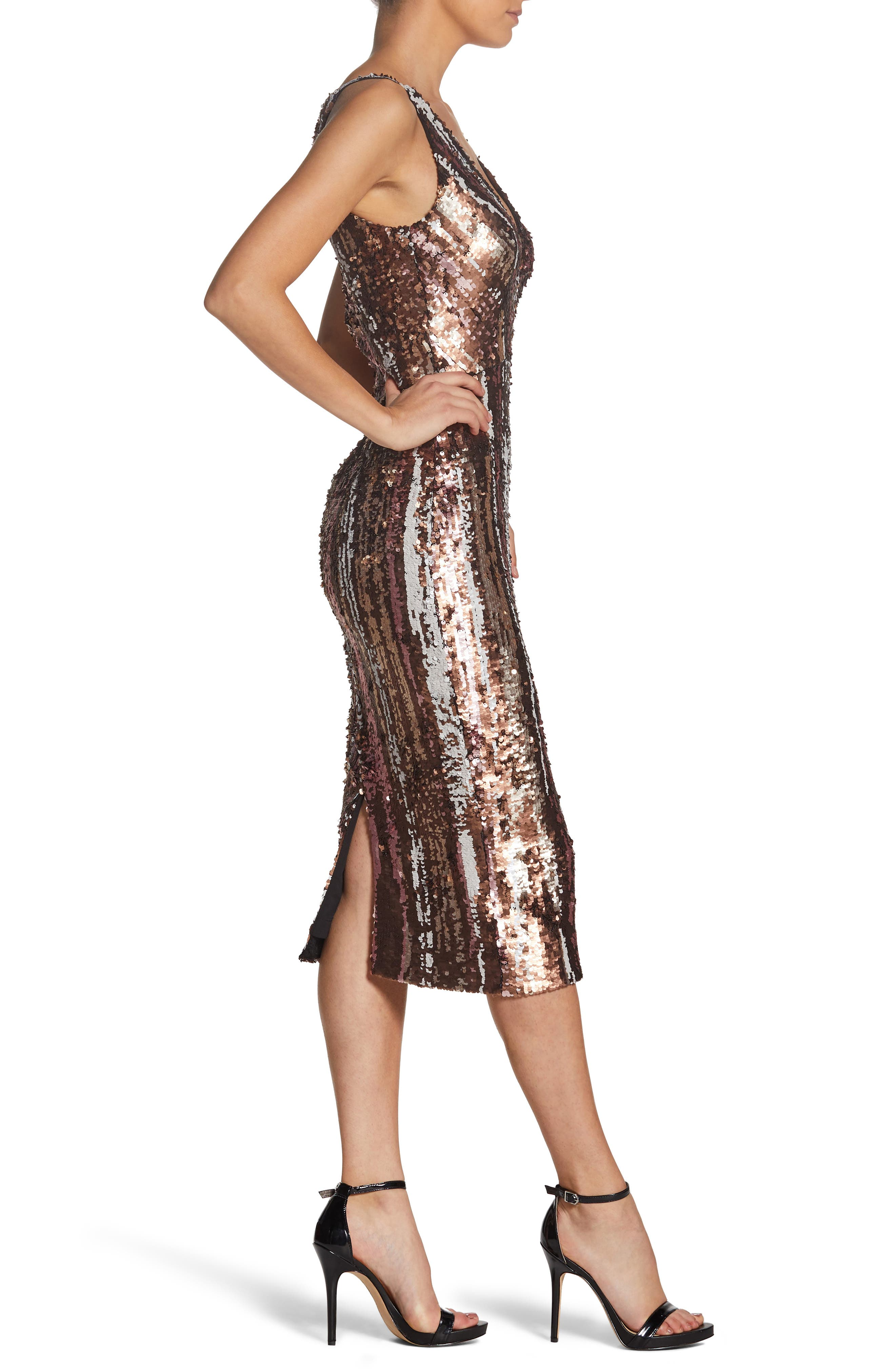 Margo Plunge Neck Sequin Dress,                             Alternate thumbnail 3, color,                             MATTE BRONZE MULTI