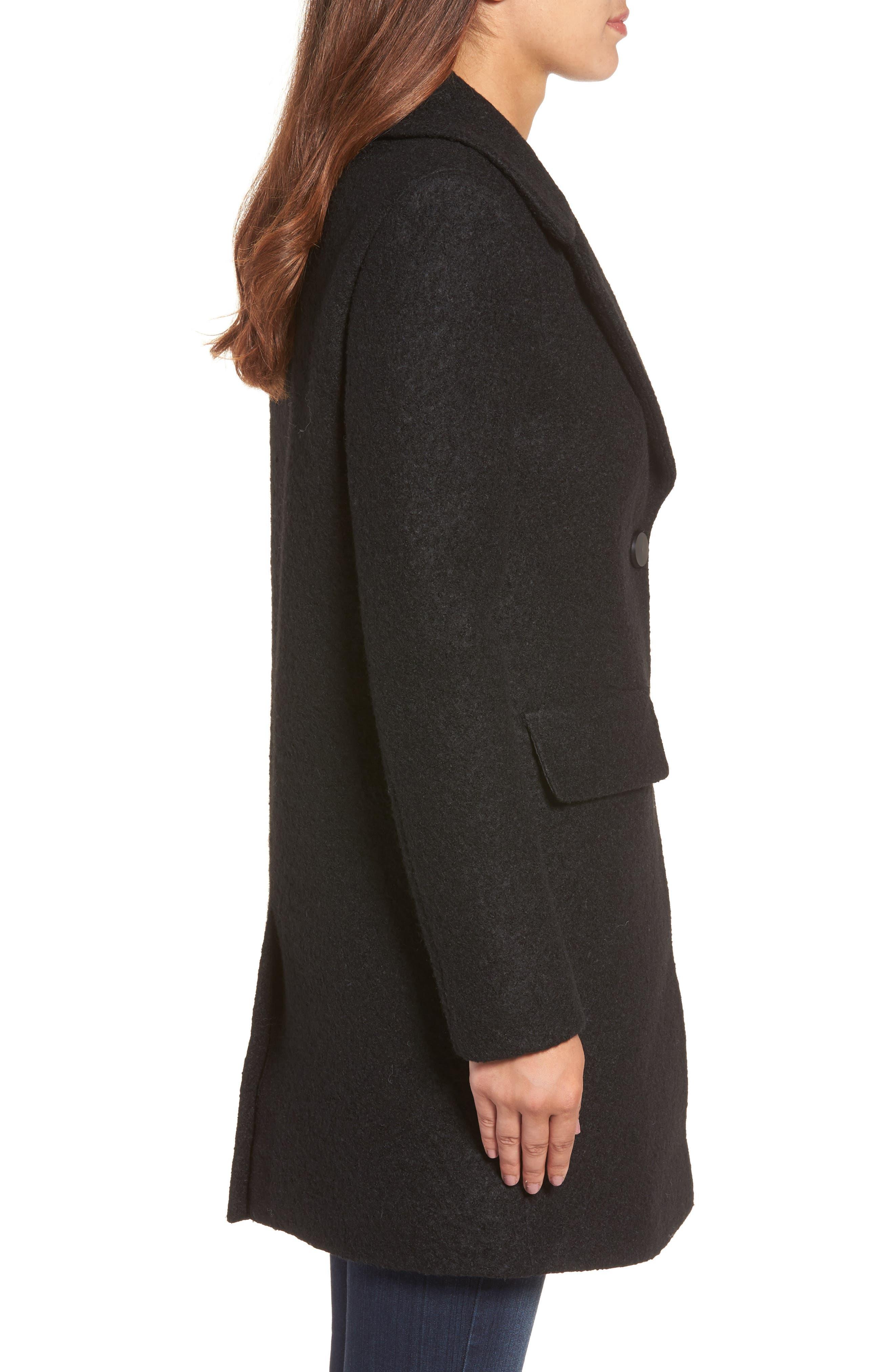 Wool Blend Bouclé Coat,                             Alternate thumbnail 3, color,                             BLACK