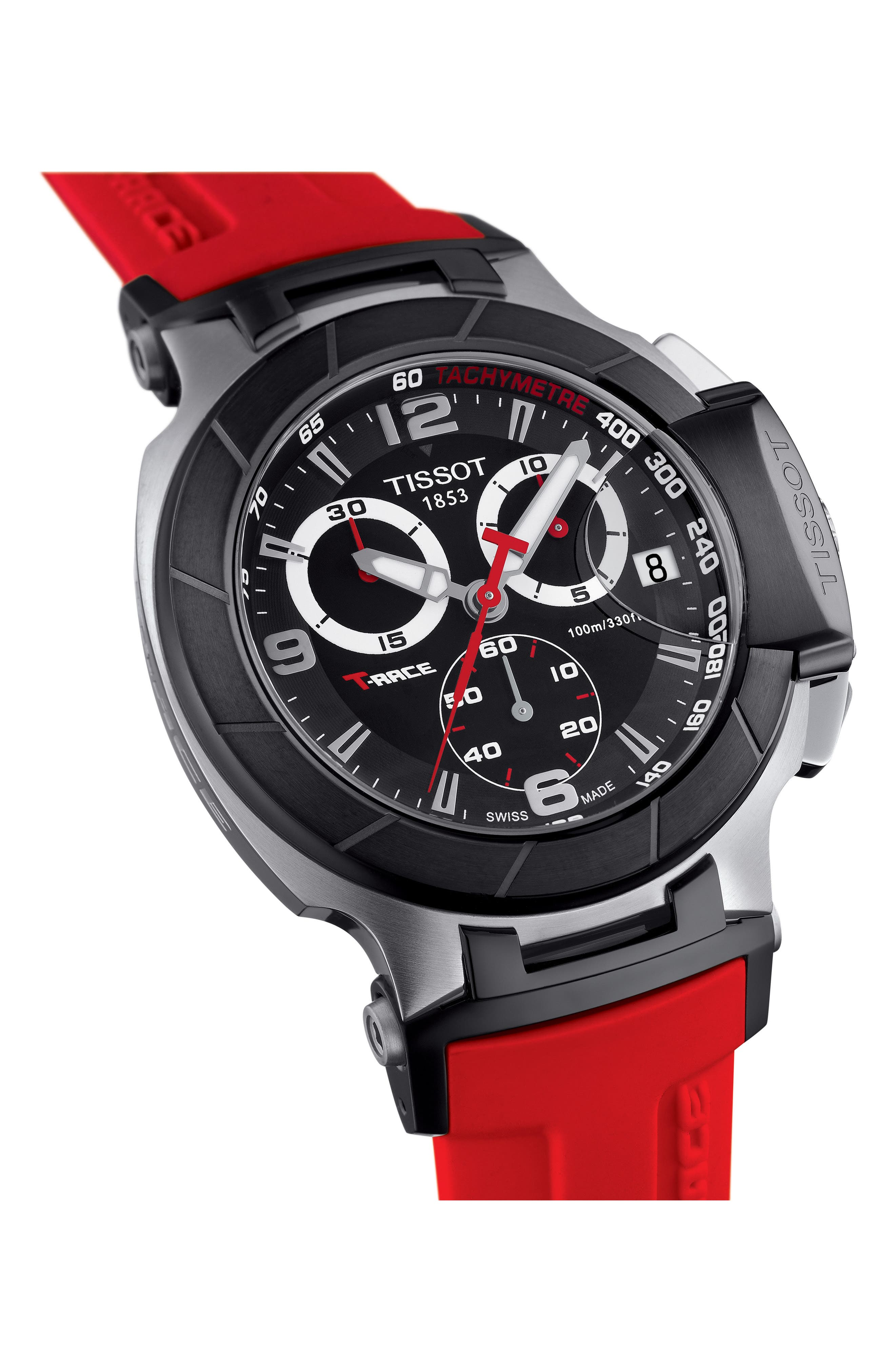 T-Race Chronograph Silicone Strap Watch, 50mm,                             Alternate thumbnail 2, color,                             RED/ BLACK/ SILVER